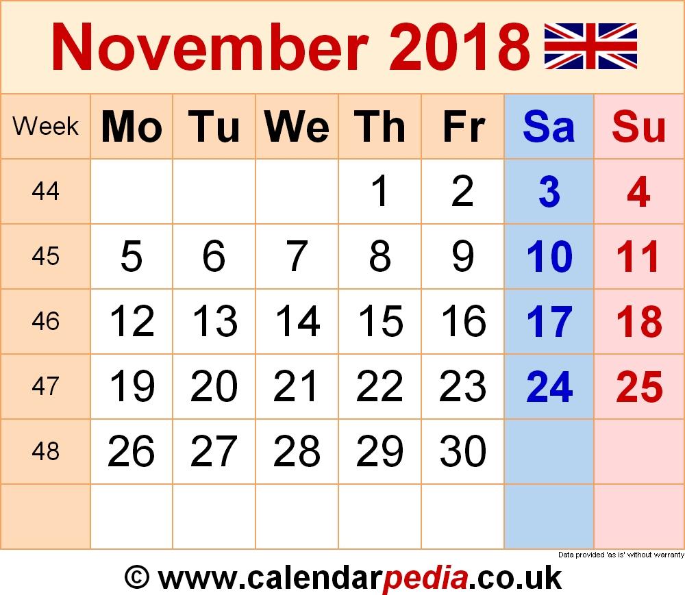 Calendar November 2018 Uk, Bank Holidays, Excel/pdf/word Templates within Ideas For Calendar In November