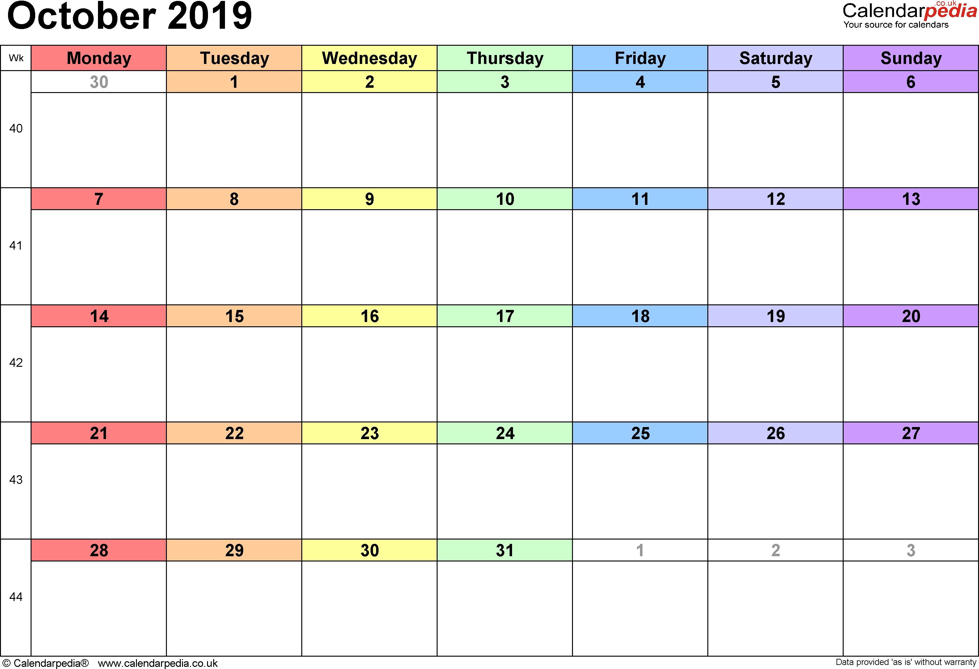 Calendar October 2019 Uk, Bank Holidays, Excel/pdf/word Templates intended for Lesson Plan Calendar October Blank