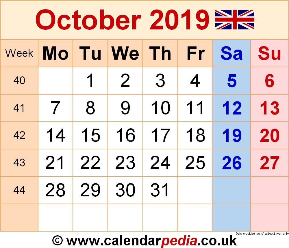 Calendar October 2019 Uk, Bank Holidays, Excel/pdf/word Templates regarding Lesson Plan Calendar October Blank