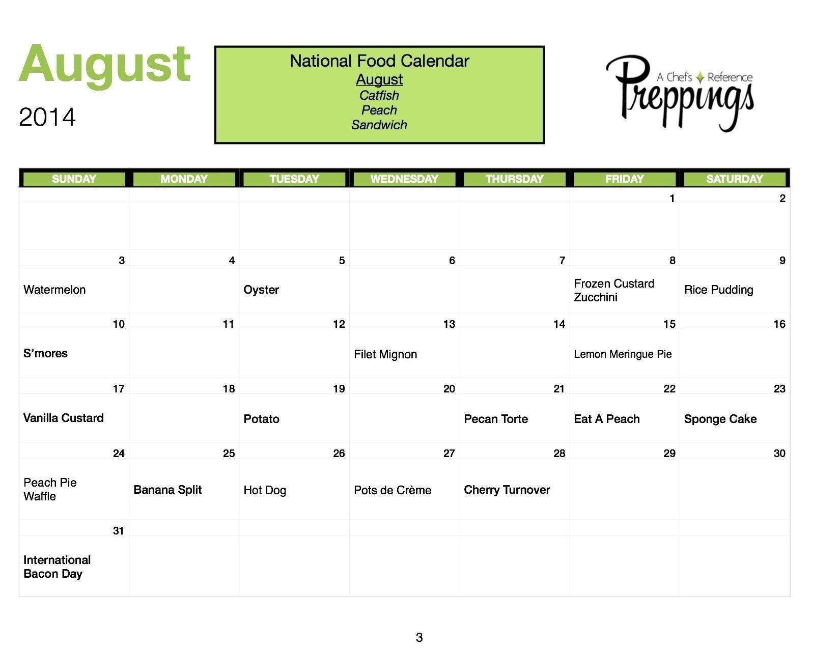 Calendar Of All National Days August   Template Calendar Printable in Calendar Of All National Days