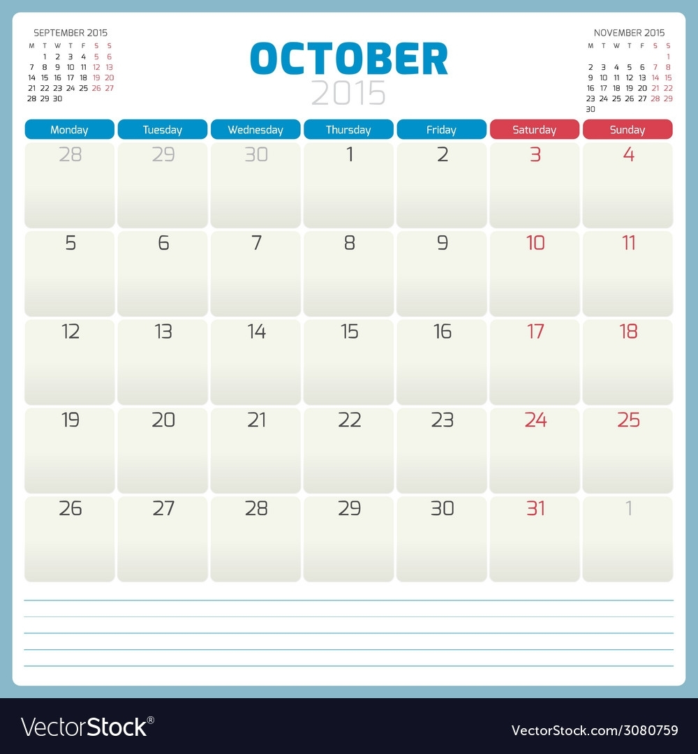 Calendar Planner 2015 Template Week Starts Monday Vector Image On  Vectorstock intended for Weekly Calandar Template Starting Monday