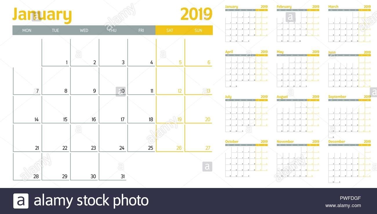 Calendar Planner 2019 Template Vector Illustration All 12 Months intended for 12 Months Printable Calendar Whole