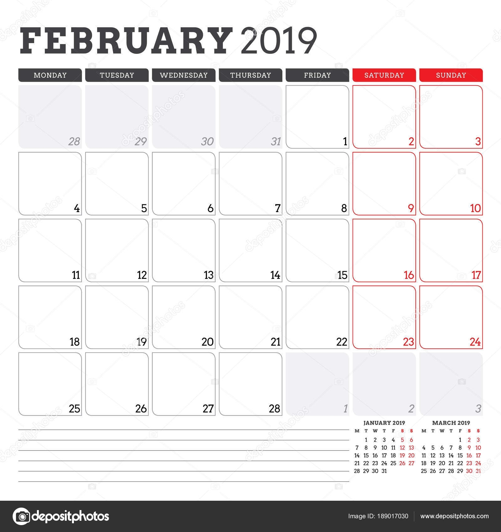Calendar Planner For February 2019. Week Starts On Monday. Printable within Weekly Calandar Template Starting Monday