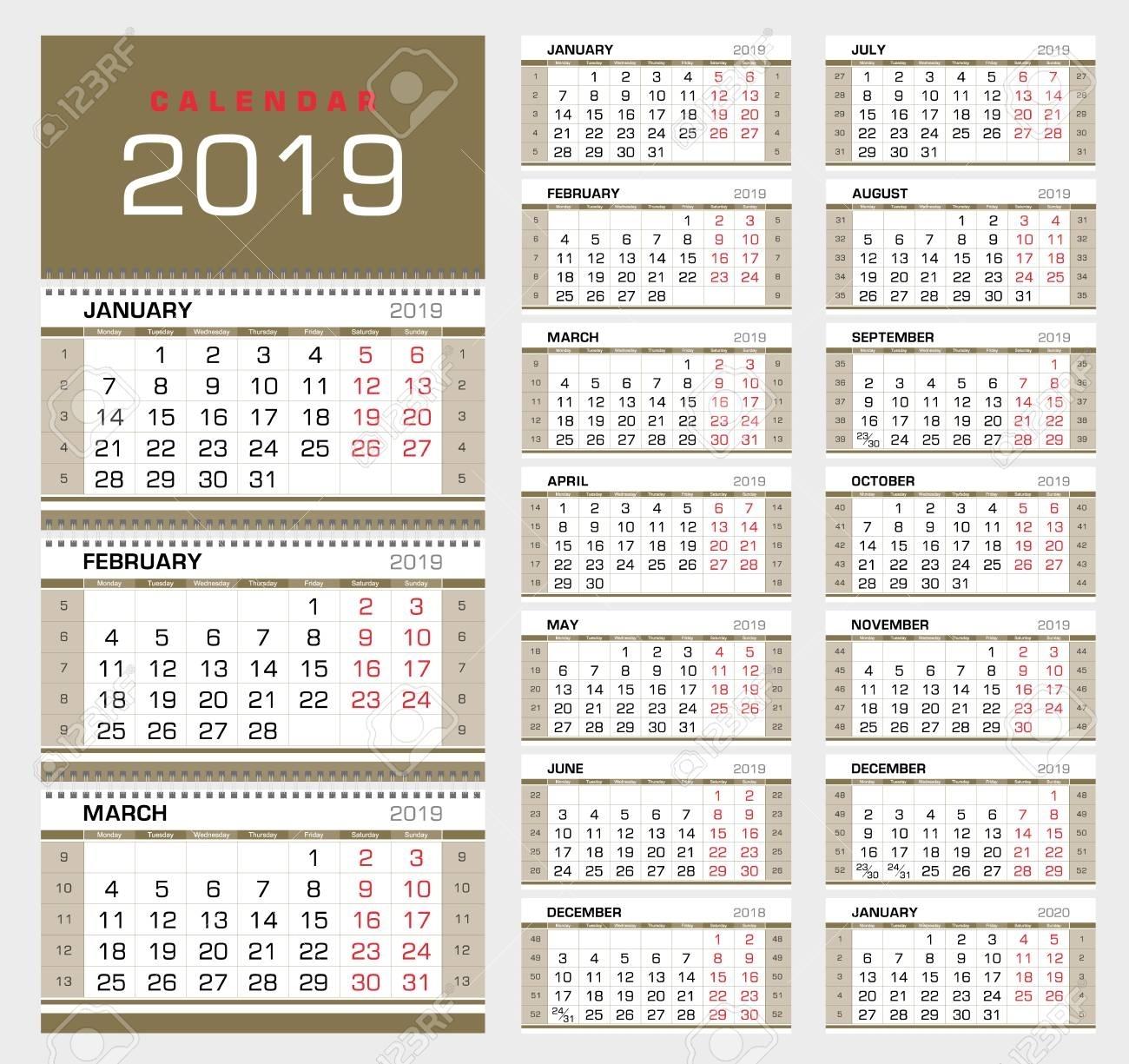 Calendar Planner Template 2019. Week Start From Sunday. Set Of in 4 Week Calendar To Print