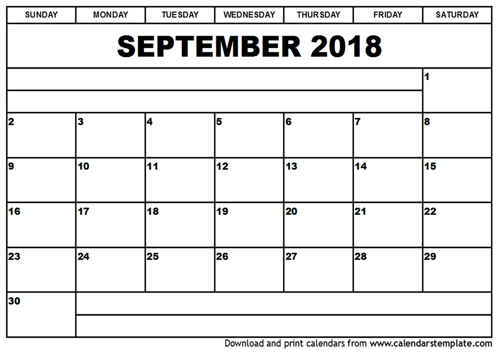 Calendar September 2018 Printable - Printable Calendar & Birthday Cards pertaining to Print Calendar Month Of September