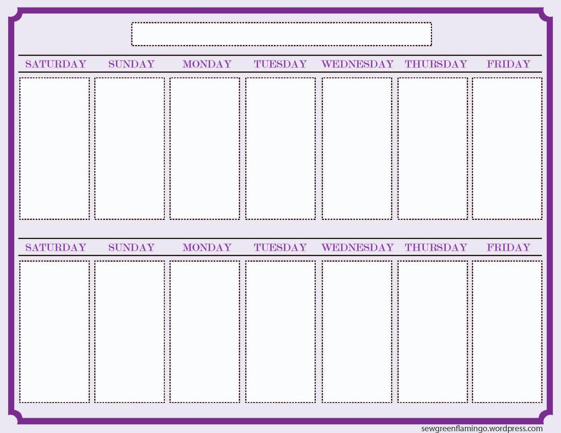 Calendar Template 2 Week Printable 2 Week Calendar Template 327607 in Two Week Calendar Template Free
