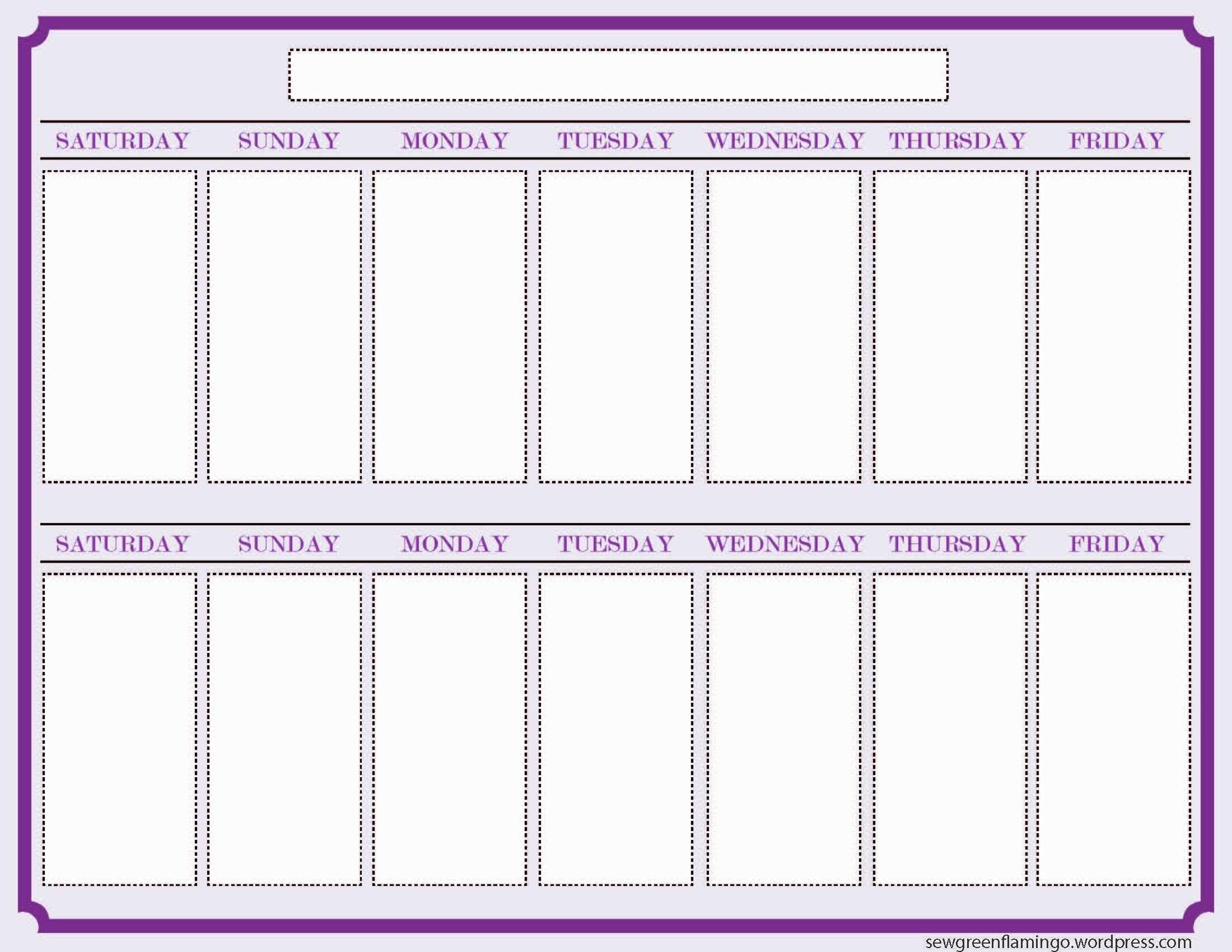 Calendar Template 2 Week Printable 2 Week Calendar Template 327607 throughout Two-Week Calendar Template Word Printable