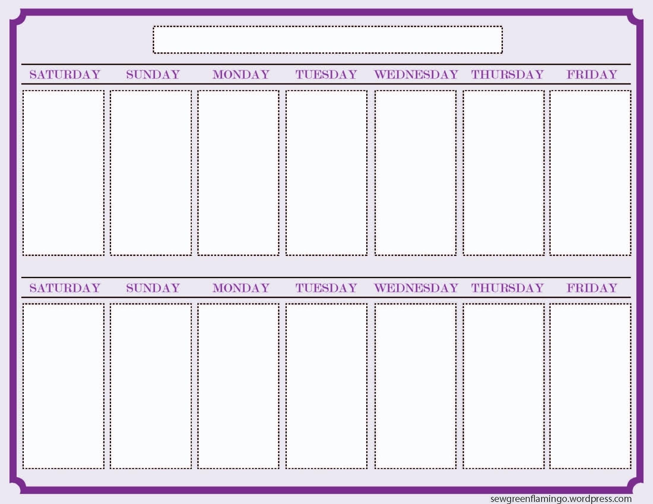 Calendar Template 2 Week Printable 327607 Blank Two Schedule Within in Blank Two Week Calendar Template