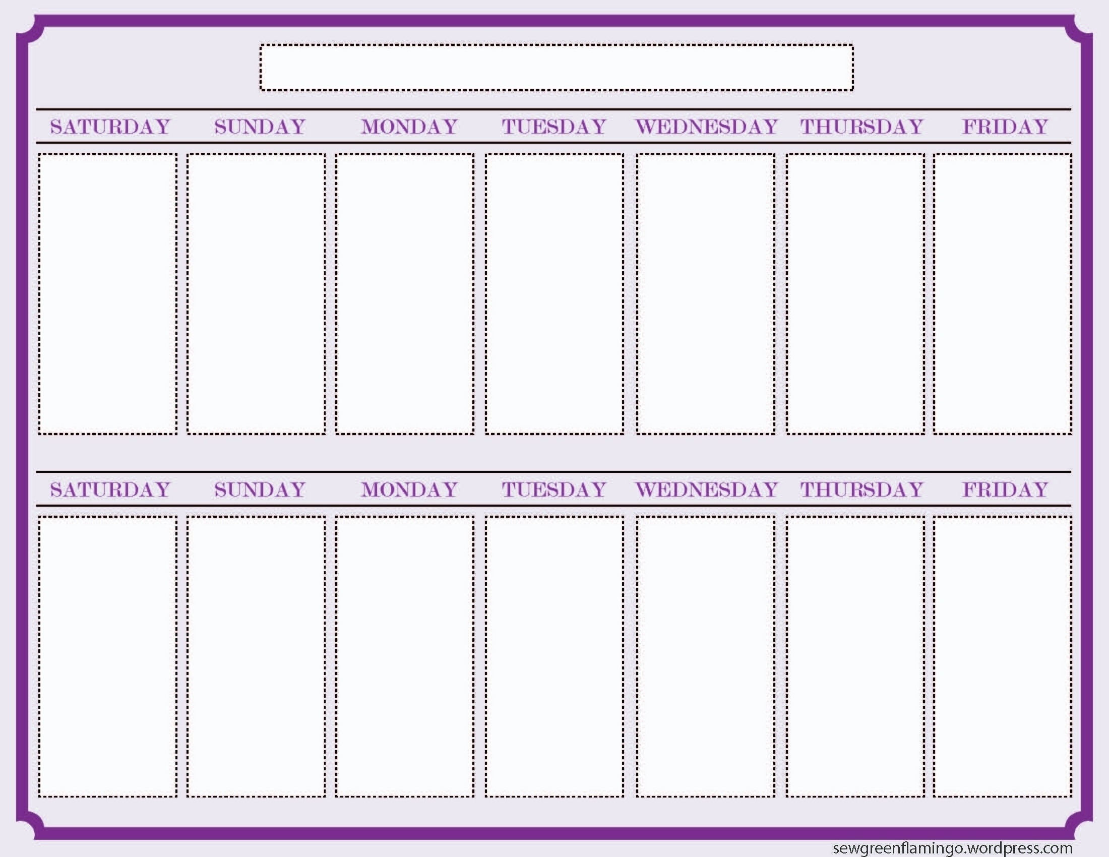 Calendar Template 2 Week Printable 327607 Blank Two Schedule Within inside Pictures Of A Two Week Calendar