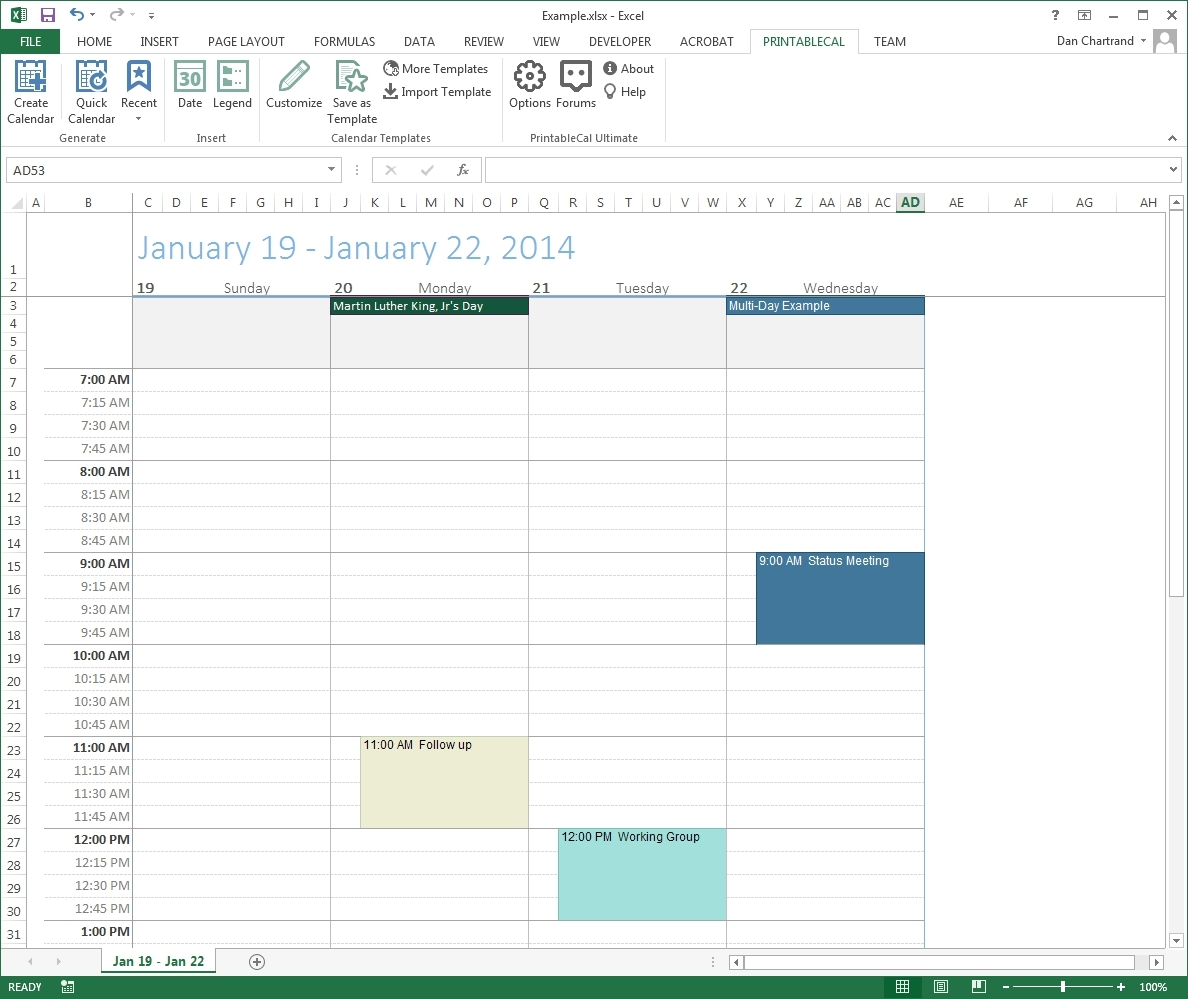 Calendar Template With Time Slots   Printable Calendar Templates 2019 with regard to Printable Calendars With Time Slots
