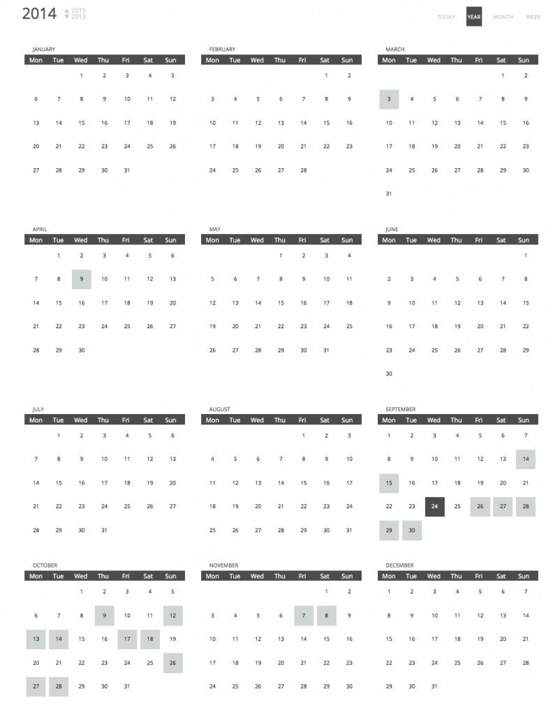 Calendar Views | Calendar Events | Chronosly in Year At A View Calendar