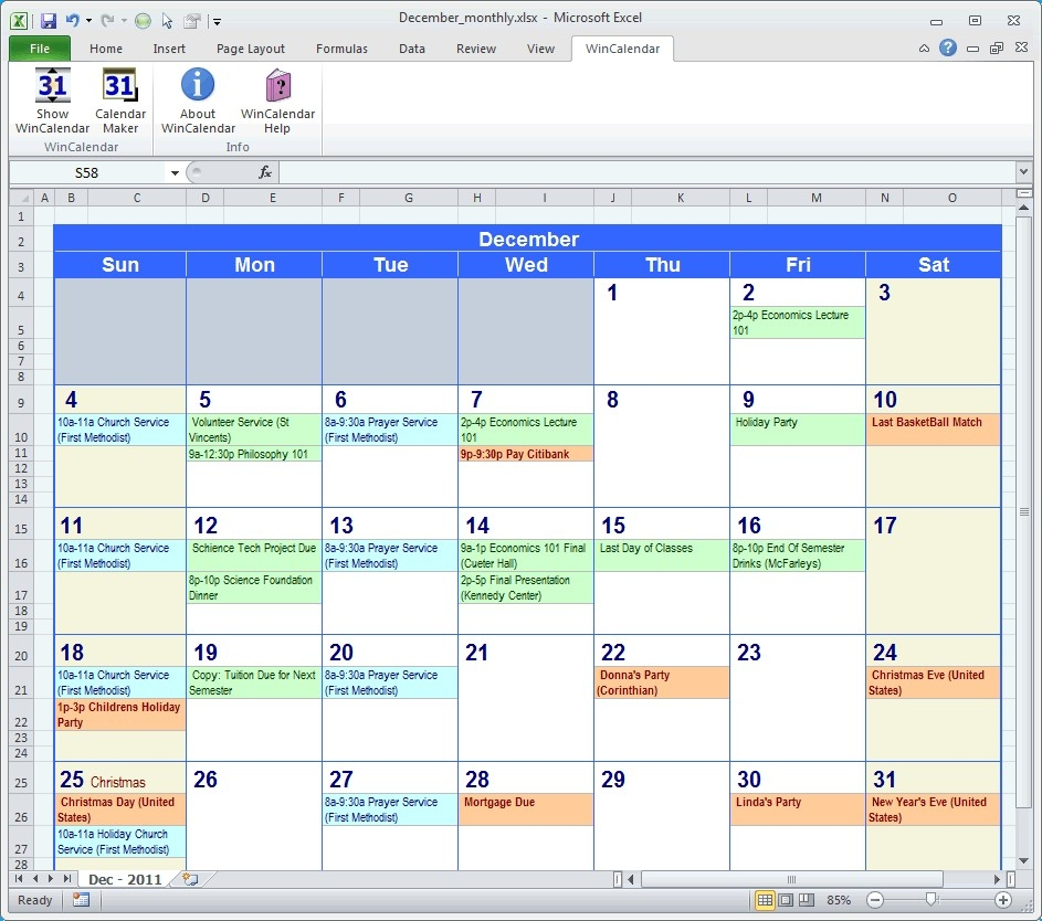 Calendar With Events In Monthly Planning Calendar Template Excel with Template For Montlhy Calendar Of Events