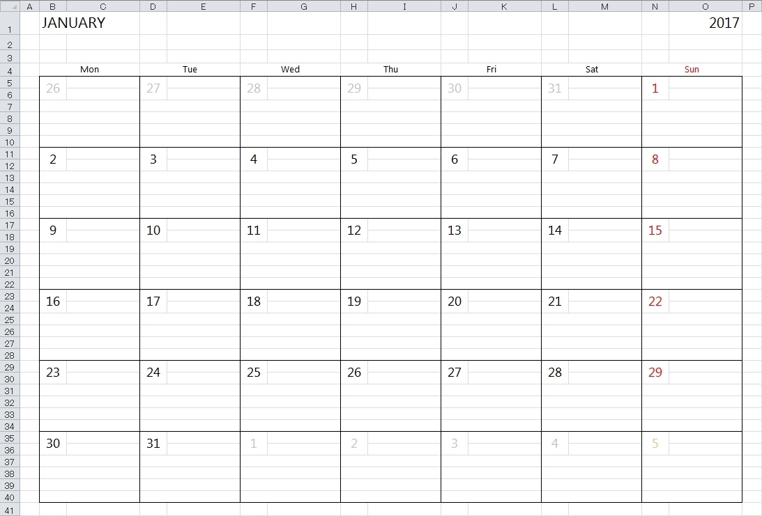 Calendar With Large Space For Notes In Excel | Template Calendar throughout Calendar With Large Space For Notes In Excel