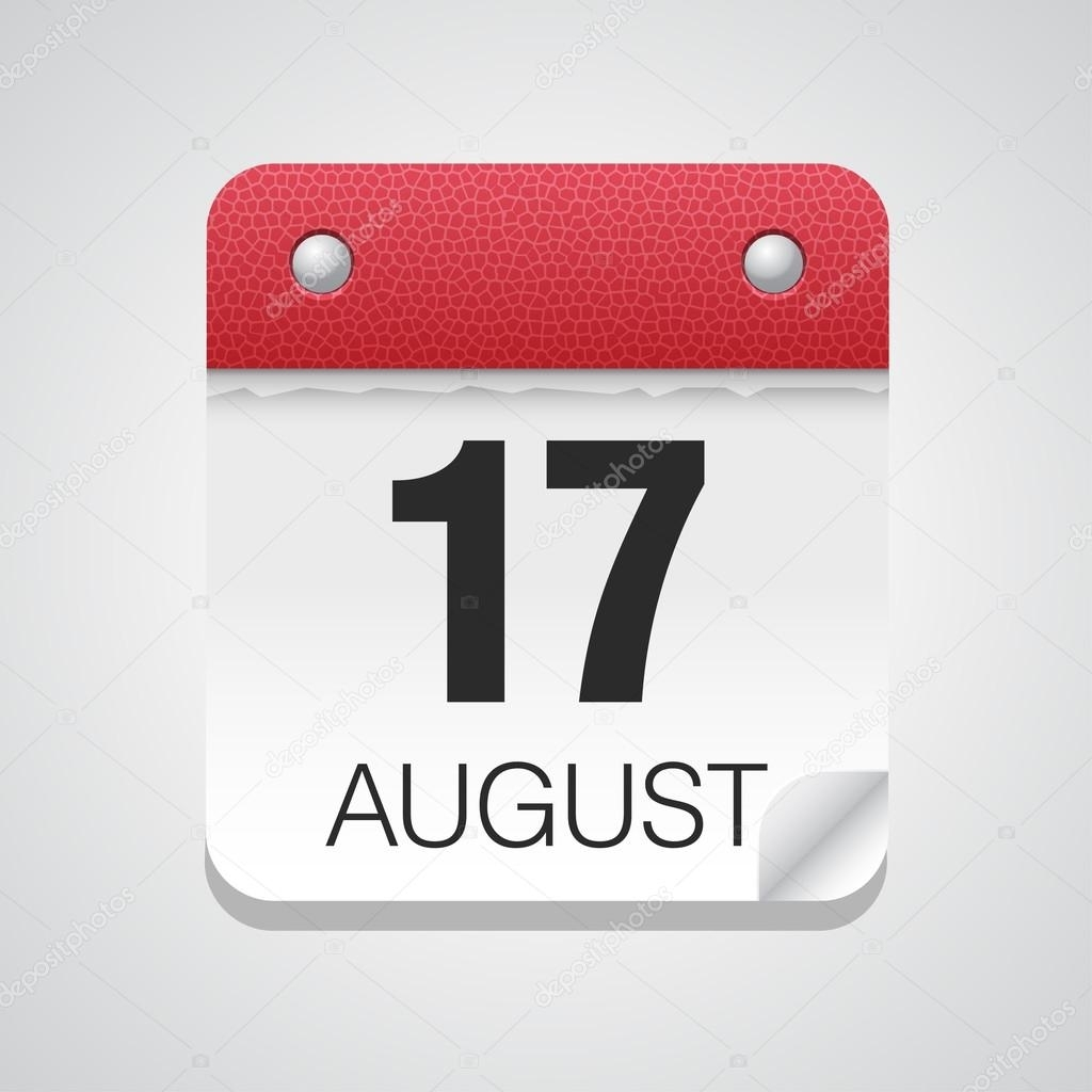 Calendario 17 Agosto | Icono De Calendario Con 17 De Agosto — Vector for Imagen 17 De Agosto En Calendario