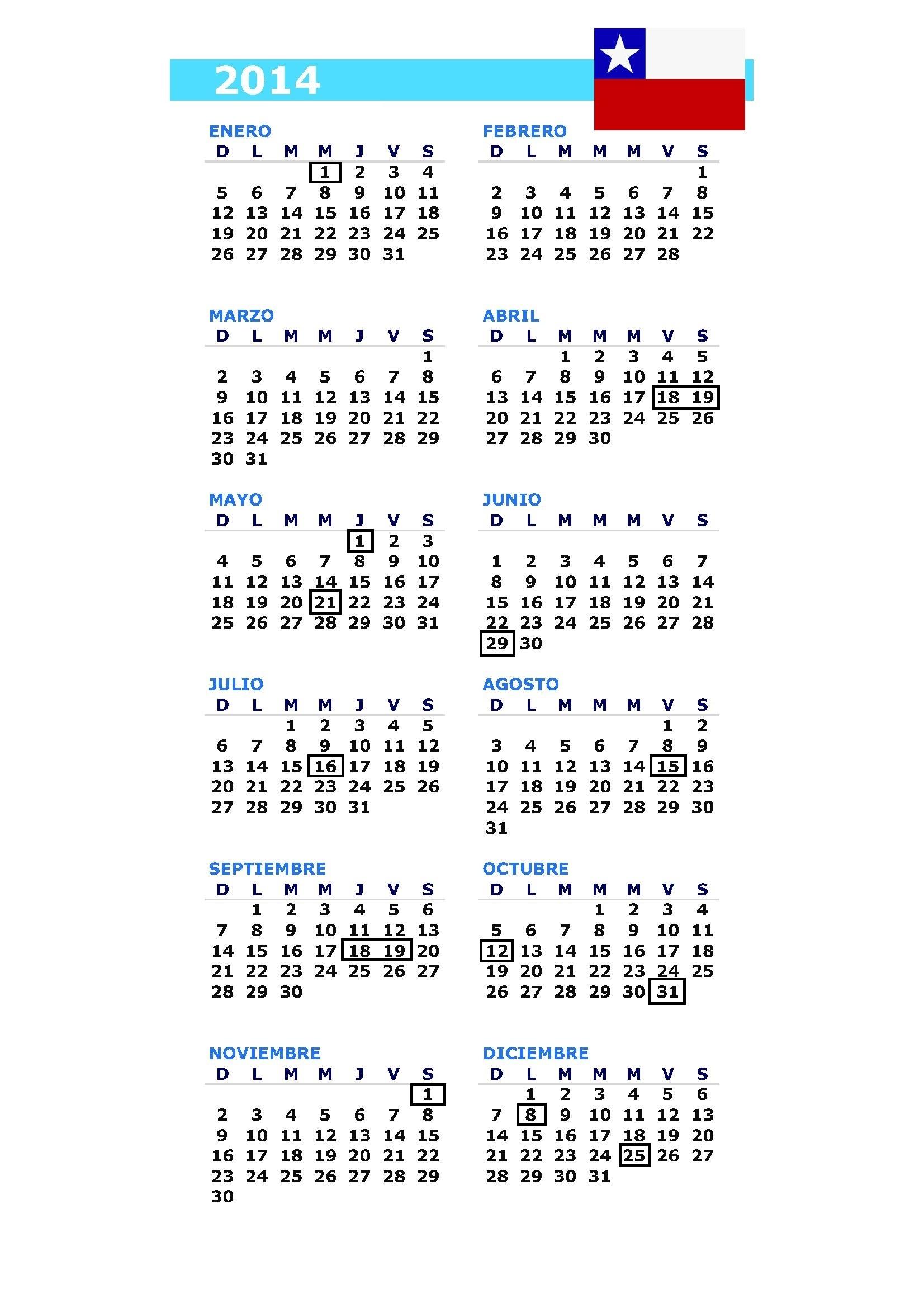 Calendario 2014 En Chile: Días Feriados Y Laborables within Calendarios 17 Feriados En Chile