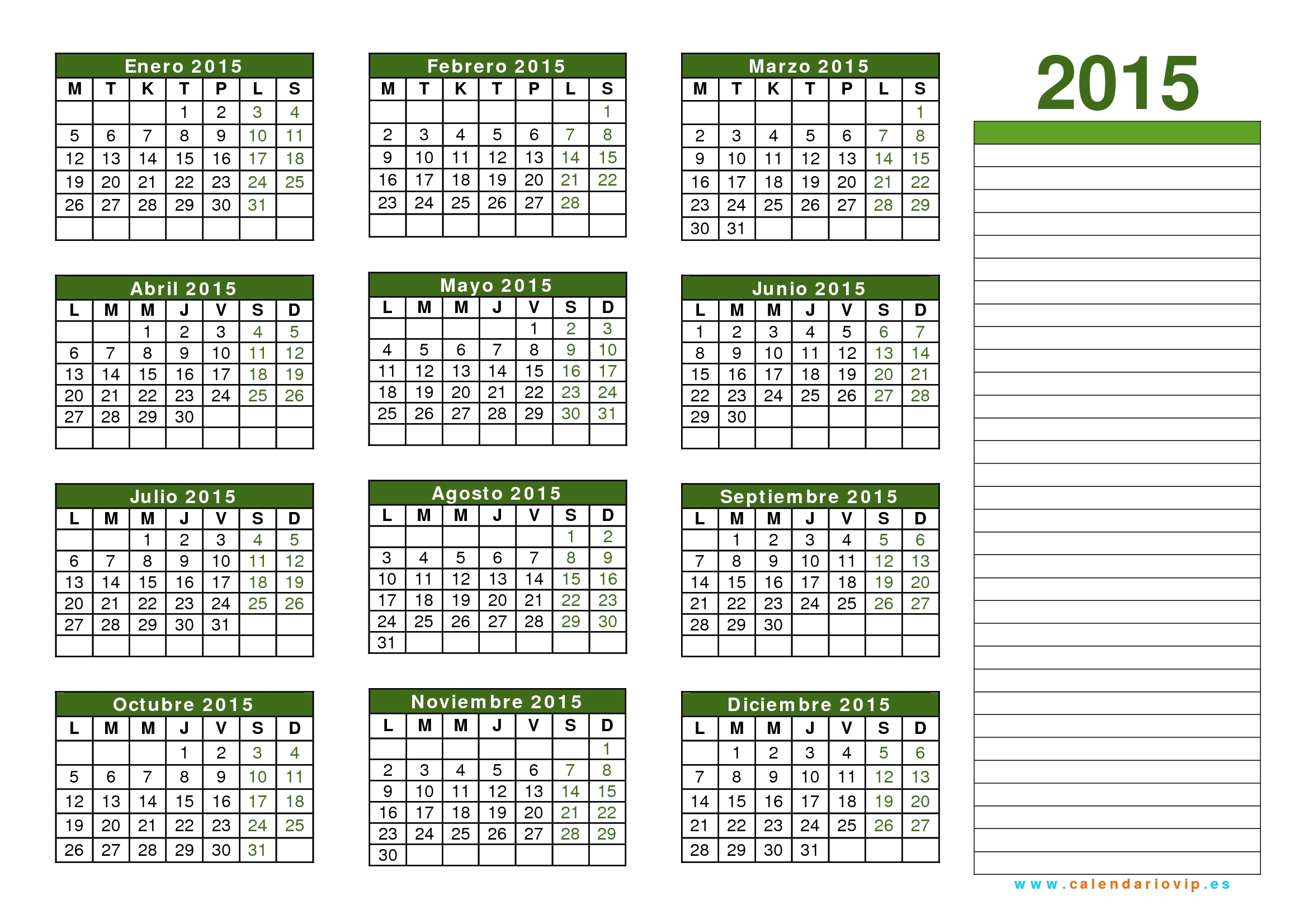 Calendario 2015 Para Imprimir Gratis throughout Calendario 2015 Para Imprimir Pdf