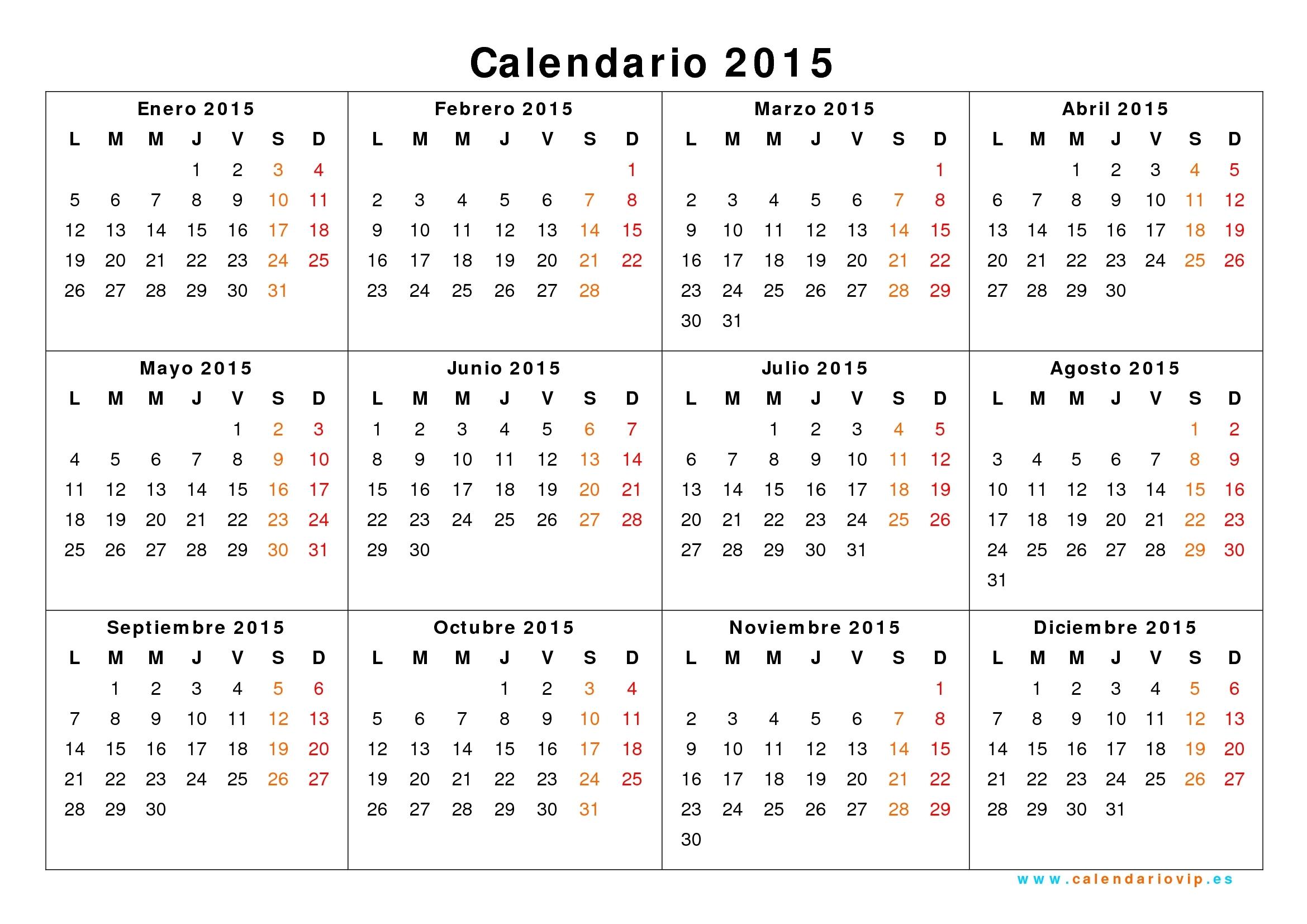 Calendario 2015 Para Imprimir Gratis with Calendario 2015 Para Imprimir Pdf