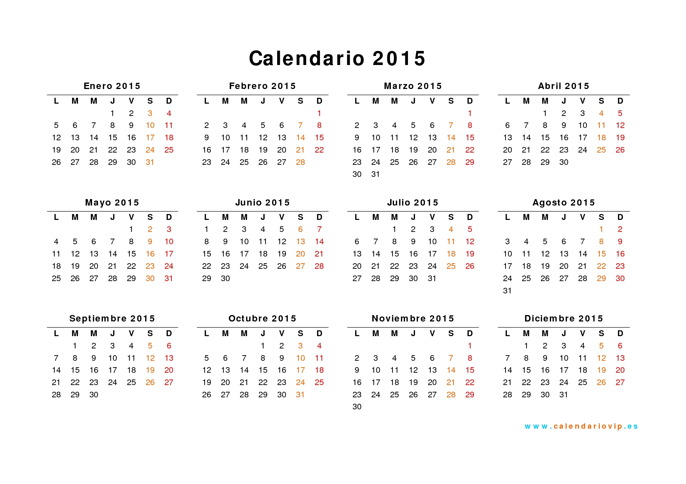 Calendario 2015 Para Imprimir Gratis within Calendario 2015 Para Imprimir Pdf