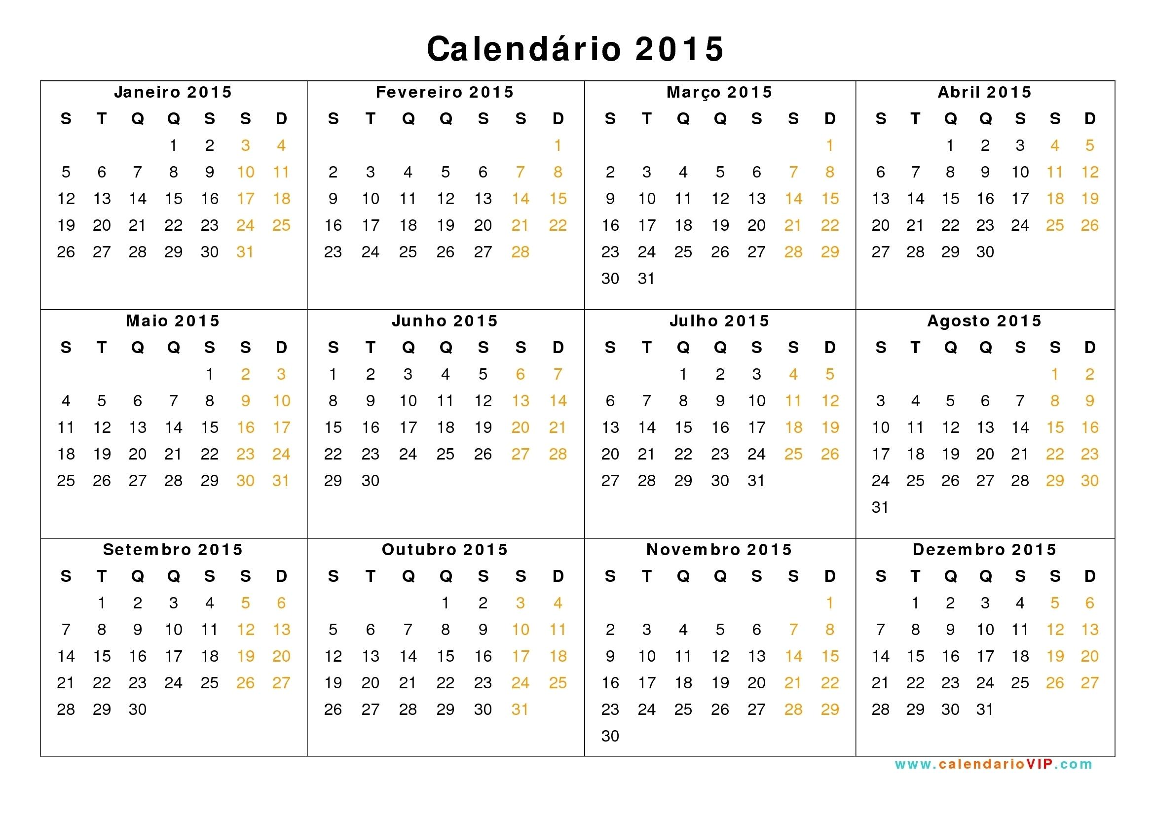 Calendario 2015 Para Imprimir Pdf | Template Calendar Printable in Calendario 2015 Para Imprimir Pdf