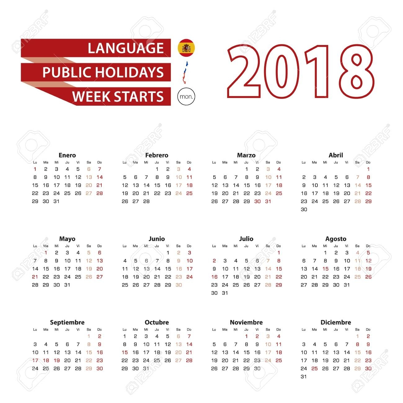Calendario 2018 En Idioma Español Con Festivos En El País De Chile En El  Año 2018. La Semana Comienza A Partir Del Lunes. Ilustración Vectorial intended for Calendarios 17 Feriados En Chile