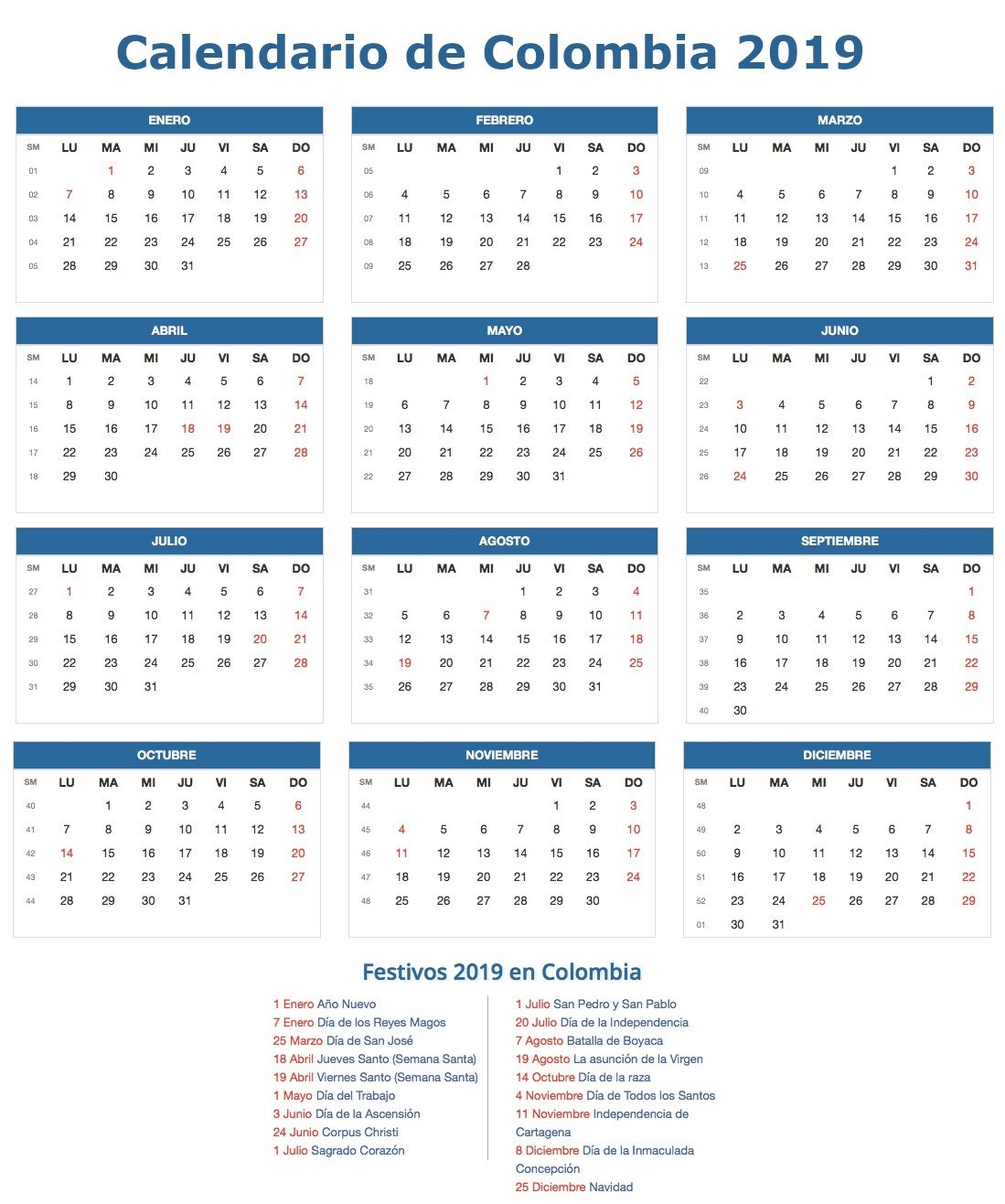 Calendario 2019 Colombia within Calendario 2006 Para Imprimir Espaa