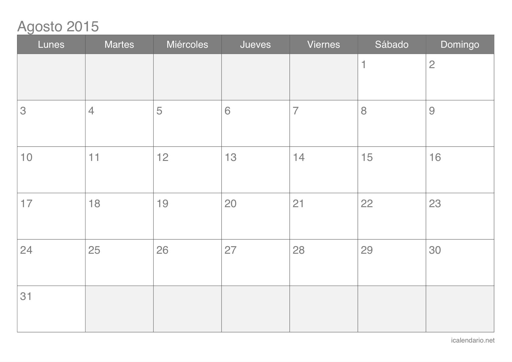 Calendario Agosto 2015 Para Imprimir - Icalendario intended for Calendario 2015 Para Imprimir Pdf