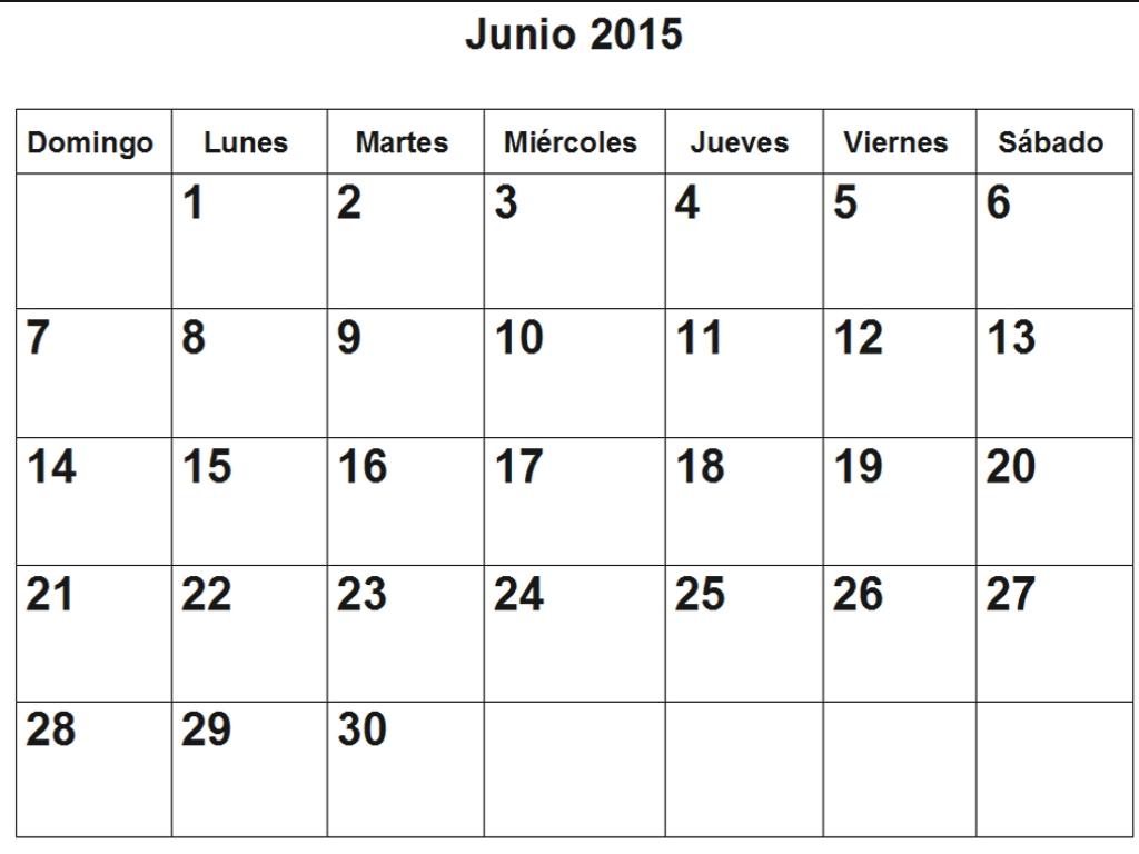 Calendario De Junio 2015 En Pdf Para Imprimir throughout Calendario 2015 Para Imprimir Pdf