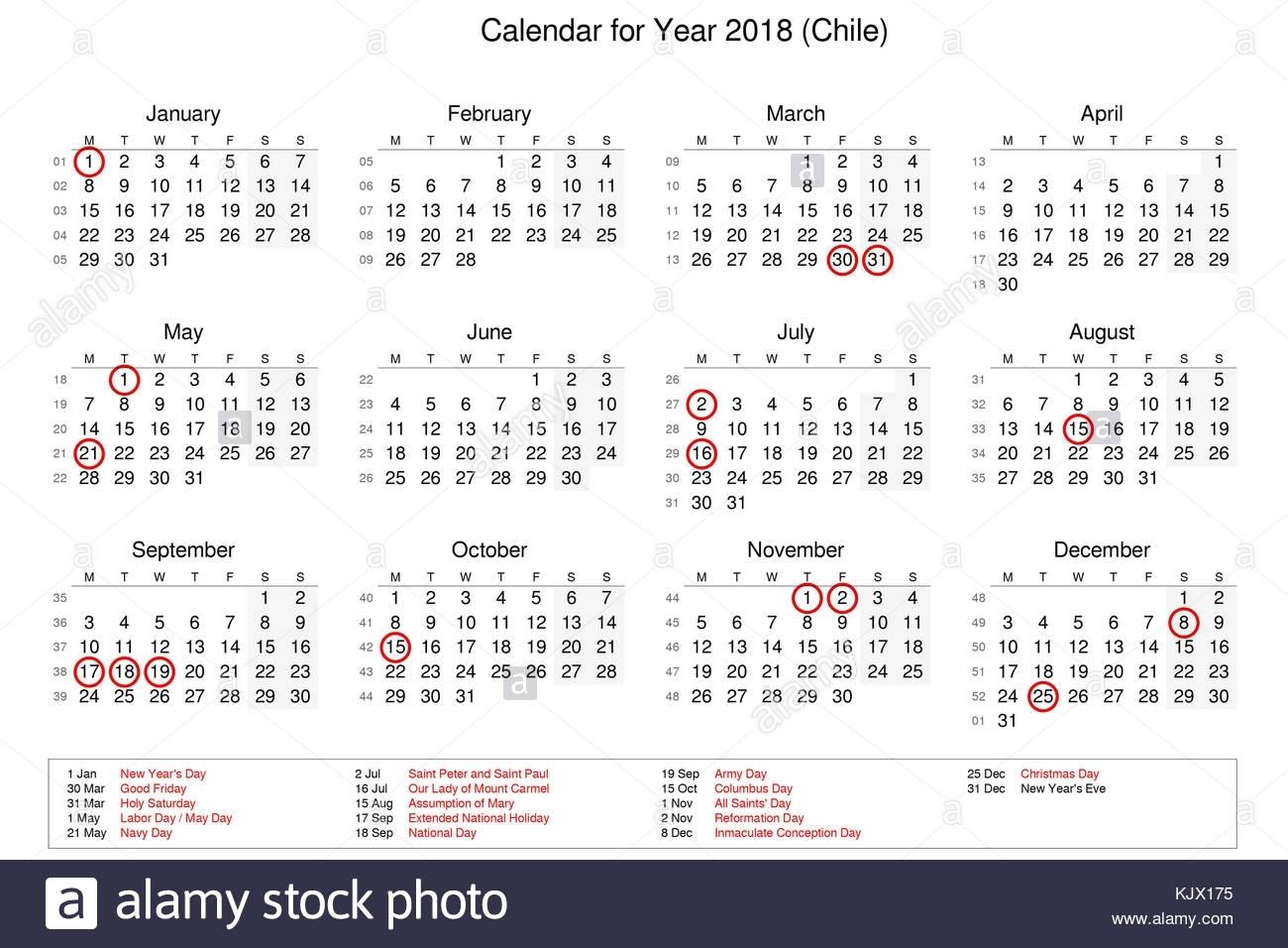 Calendario Del Año 2018 Con Los Feriados Y Días Festivos Para Chile regarding Calendarios 17 Feriados En Chile