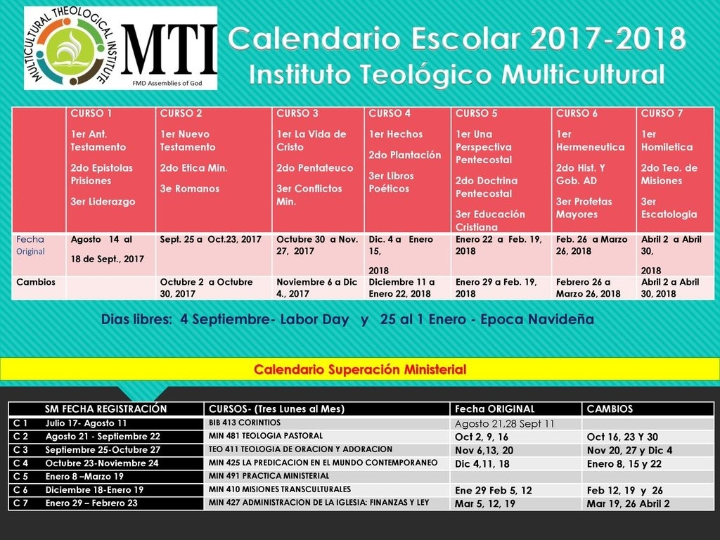 Calendario Escolar Instituto Teológico Multicultural - Ppt Descargar pertaining to Calendario 2006 Para Imprimir Espaa