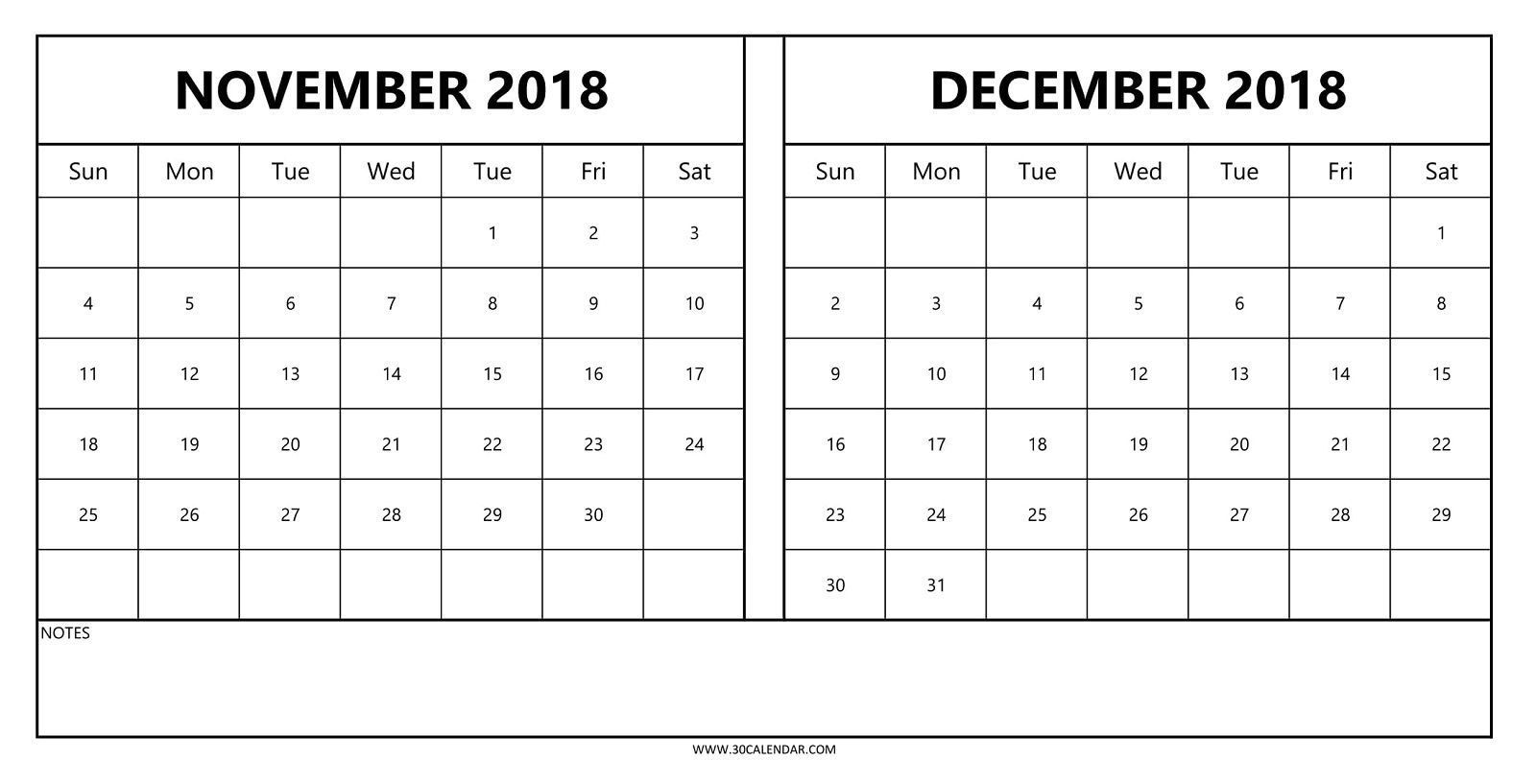 Calendars November And December 2018 | Template Calendar Printable within Blank Calendar For November And December