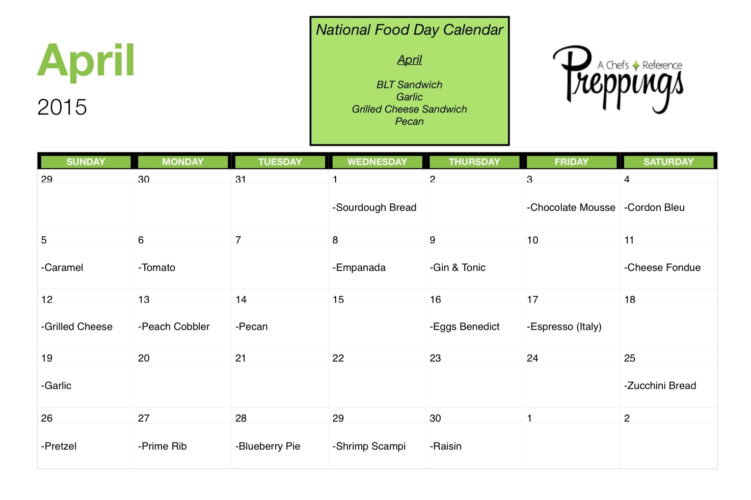 Calender With National Food Days | Template Calendar Printable pertaining to Calender With National Food Days