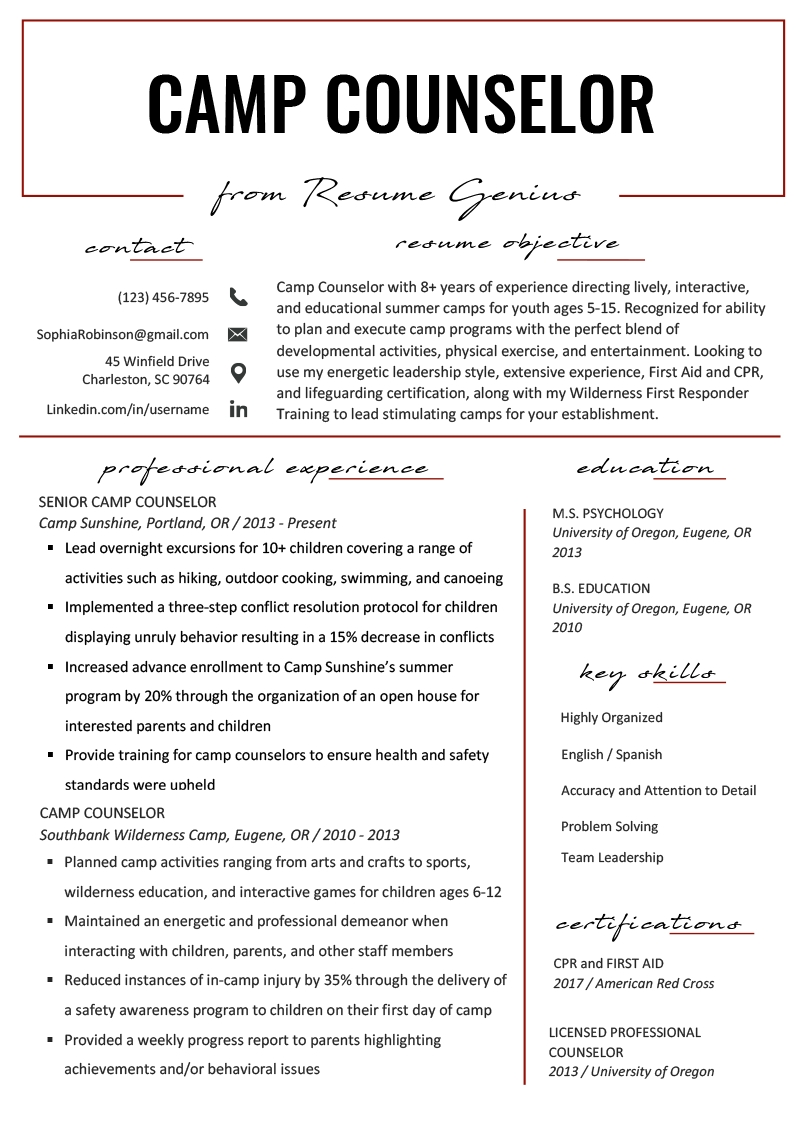Camp Counselor Resume Sample & Tips | Resume Genius in Free Download Blank Summer Camp Application