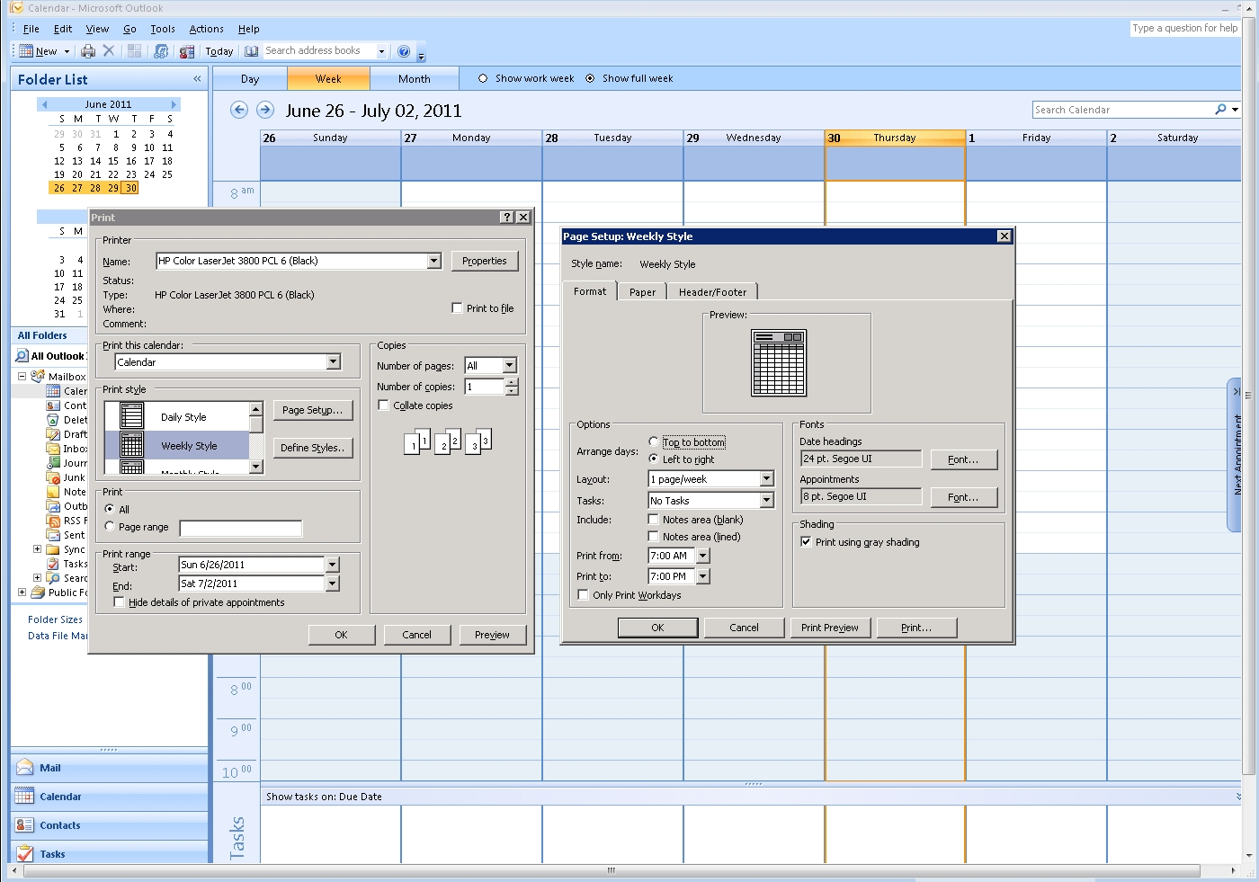 Can Ms Outlook 2007 Print The Entire Day's Schedule, In The Weekly pertaining to Outlook 2007 Viewing Inbox In Calendar