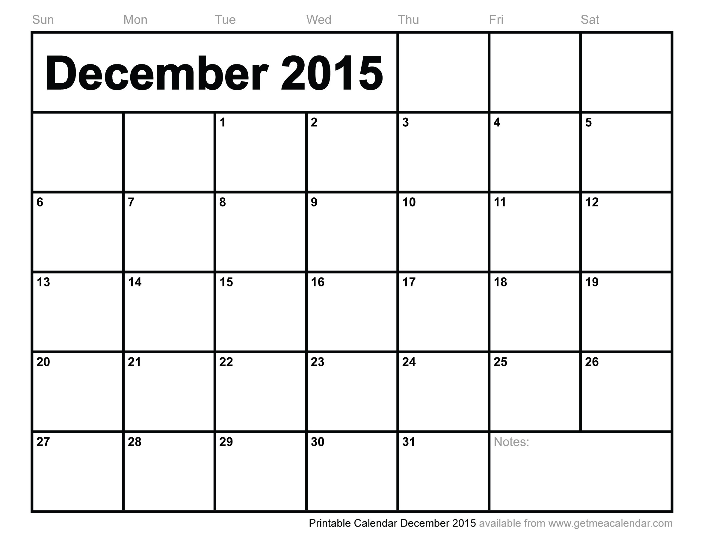 fillable monthly calendar december 2015