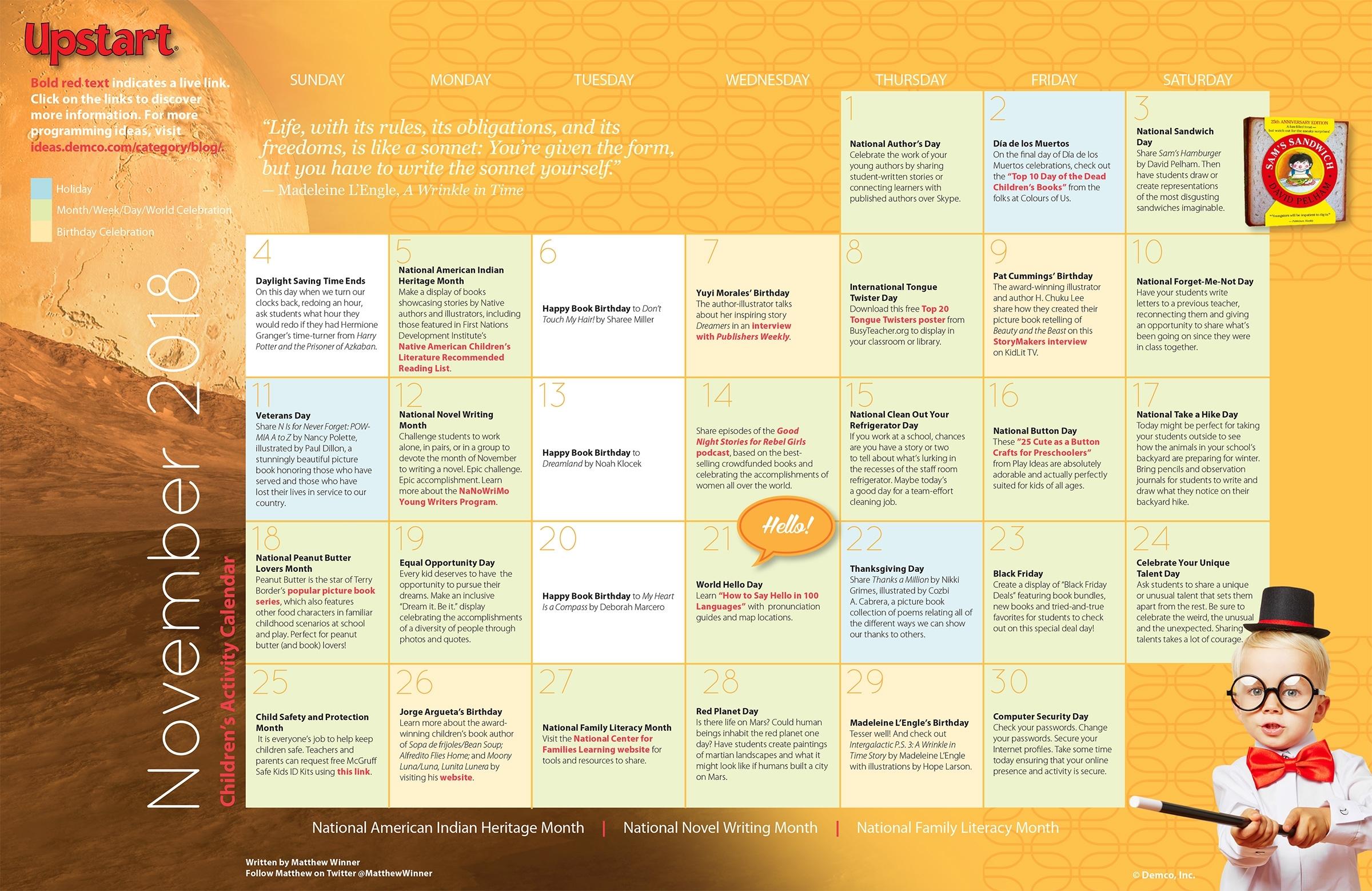 Children's Activities Calendar: November with Ideas For Calendar In November