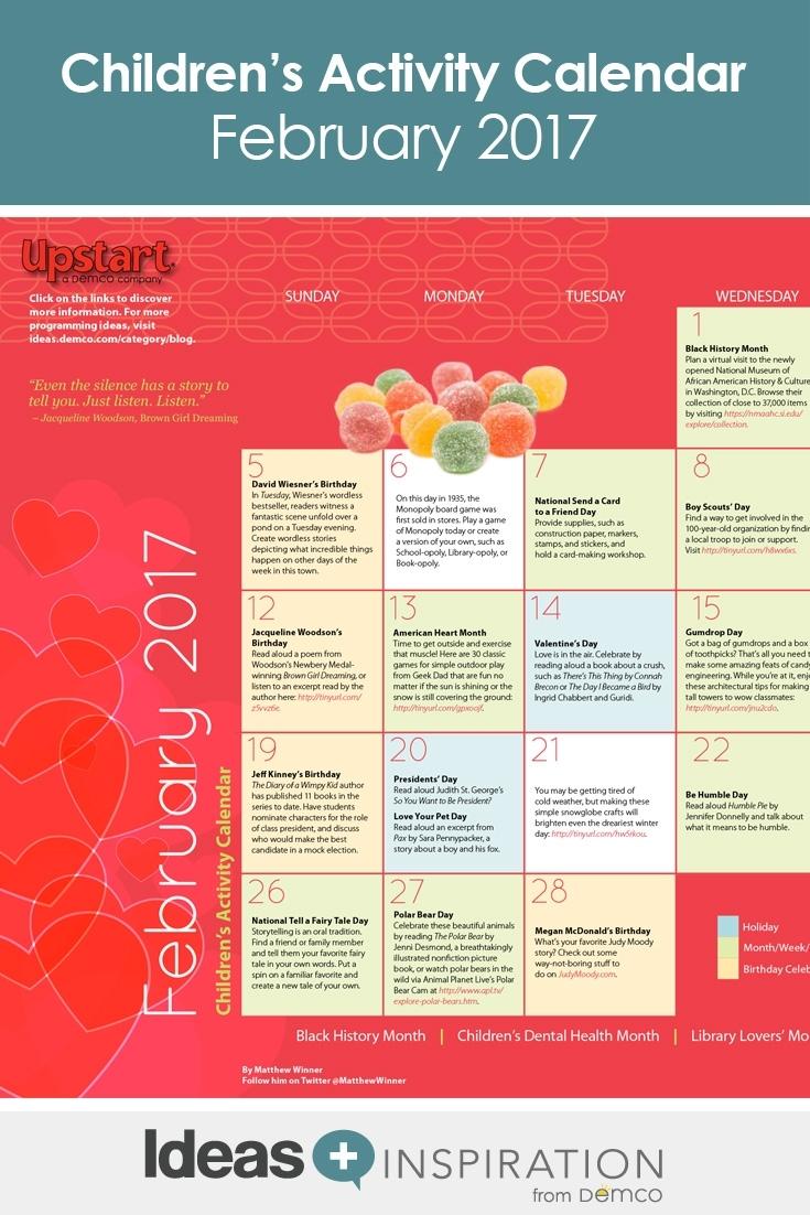 Children's Activity Calendar: February 2017 inside Calendar Of February Month Of 100 Years