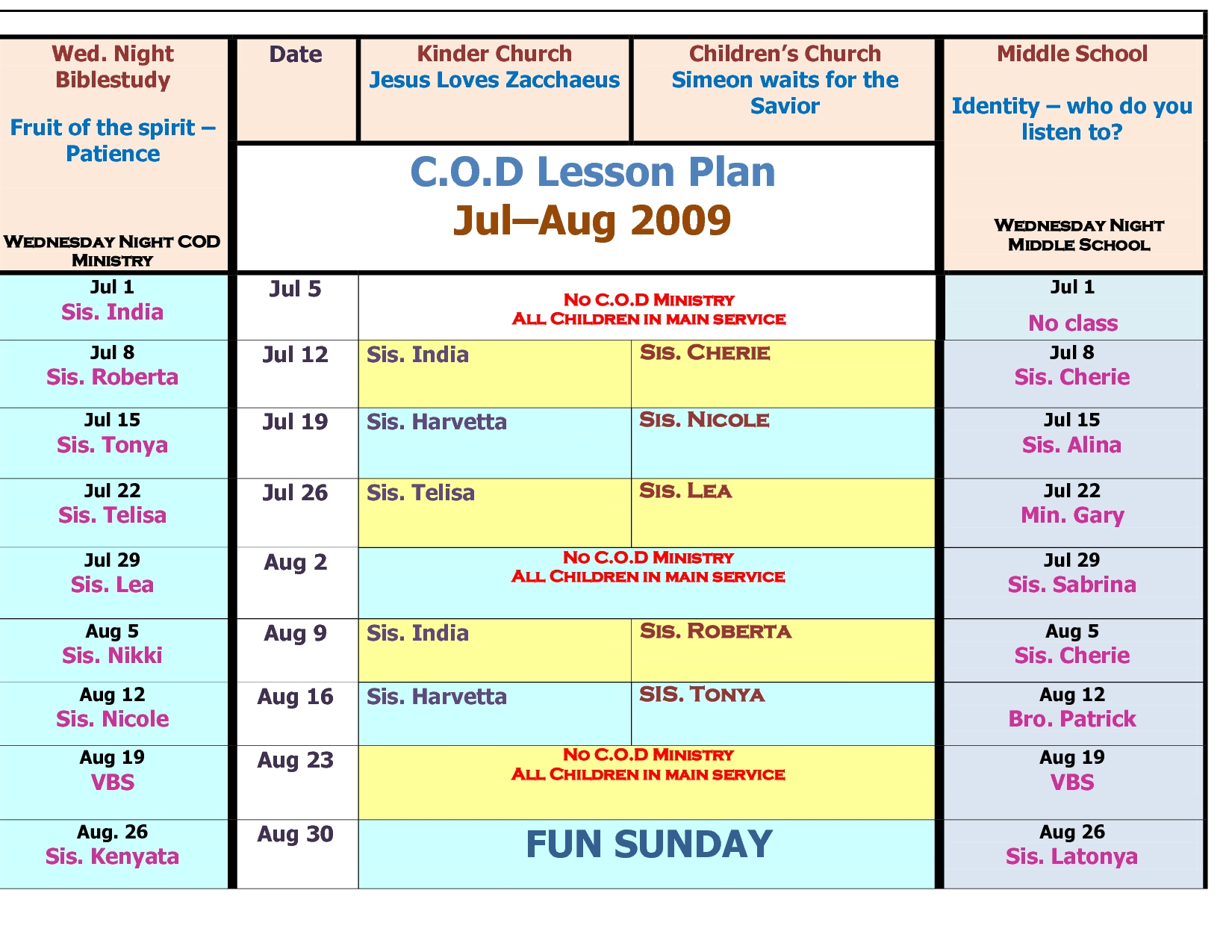 Children's Church Schedule Template - Google Search | Children's within Template For Monthly Calendar Lesson Plans For Childrens Church