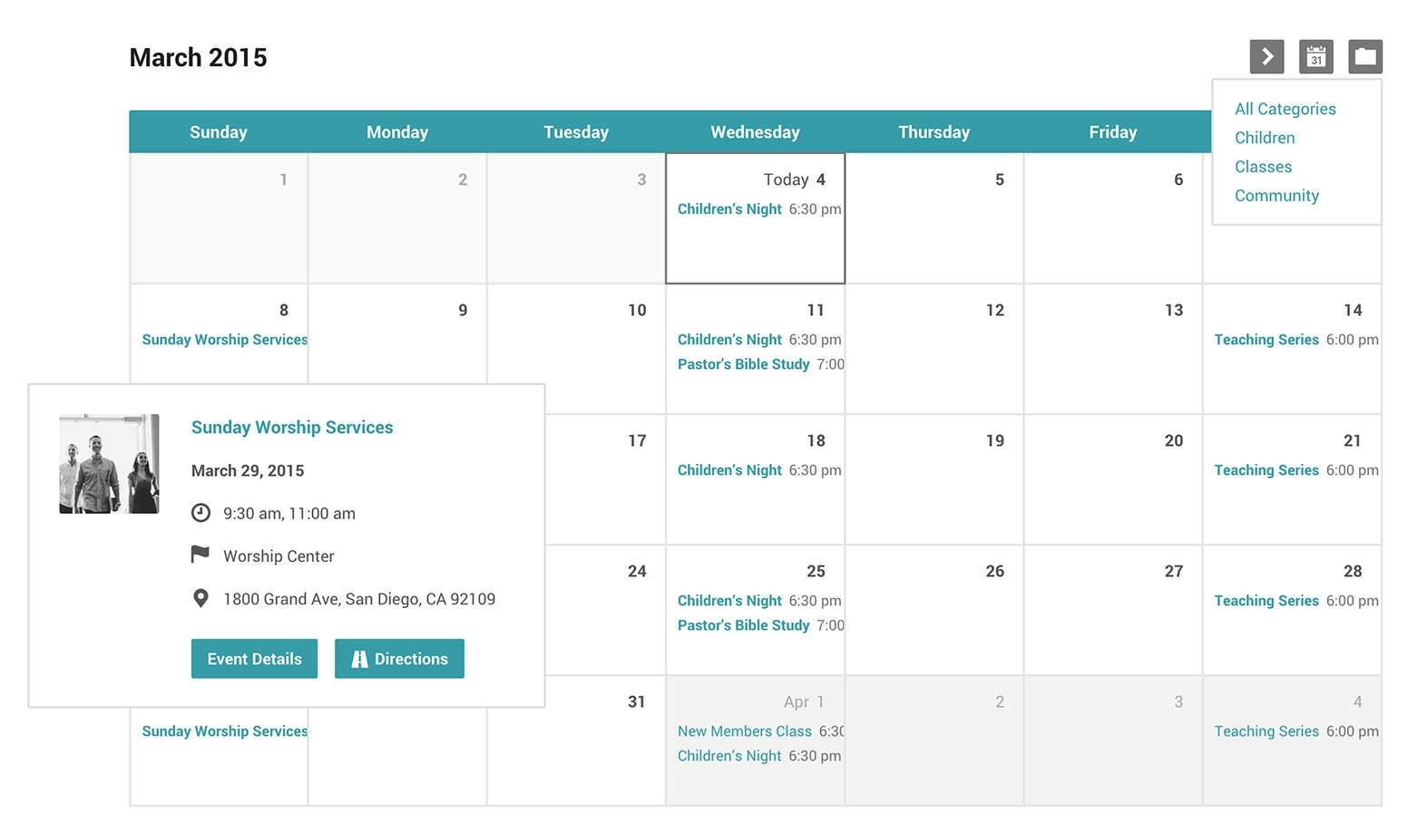 Church Events Calendar And Categories For Wordpress for Church Calendar Of Events Template