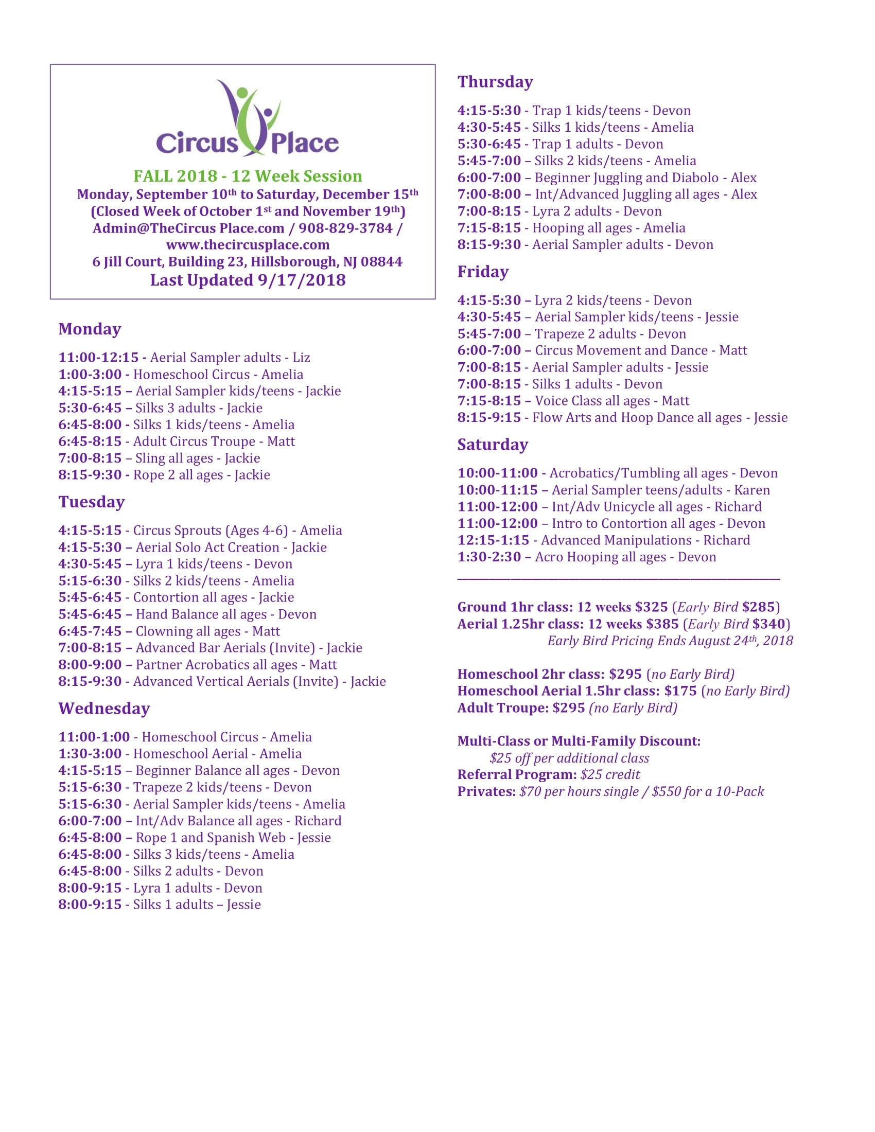 Circus Place, Hillsborough, Nj Fall 2018 Schedule | Circus Classes with 12 Hours In 12 Weeks Pdf Download