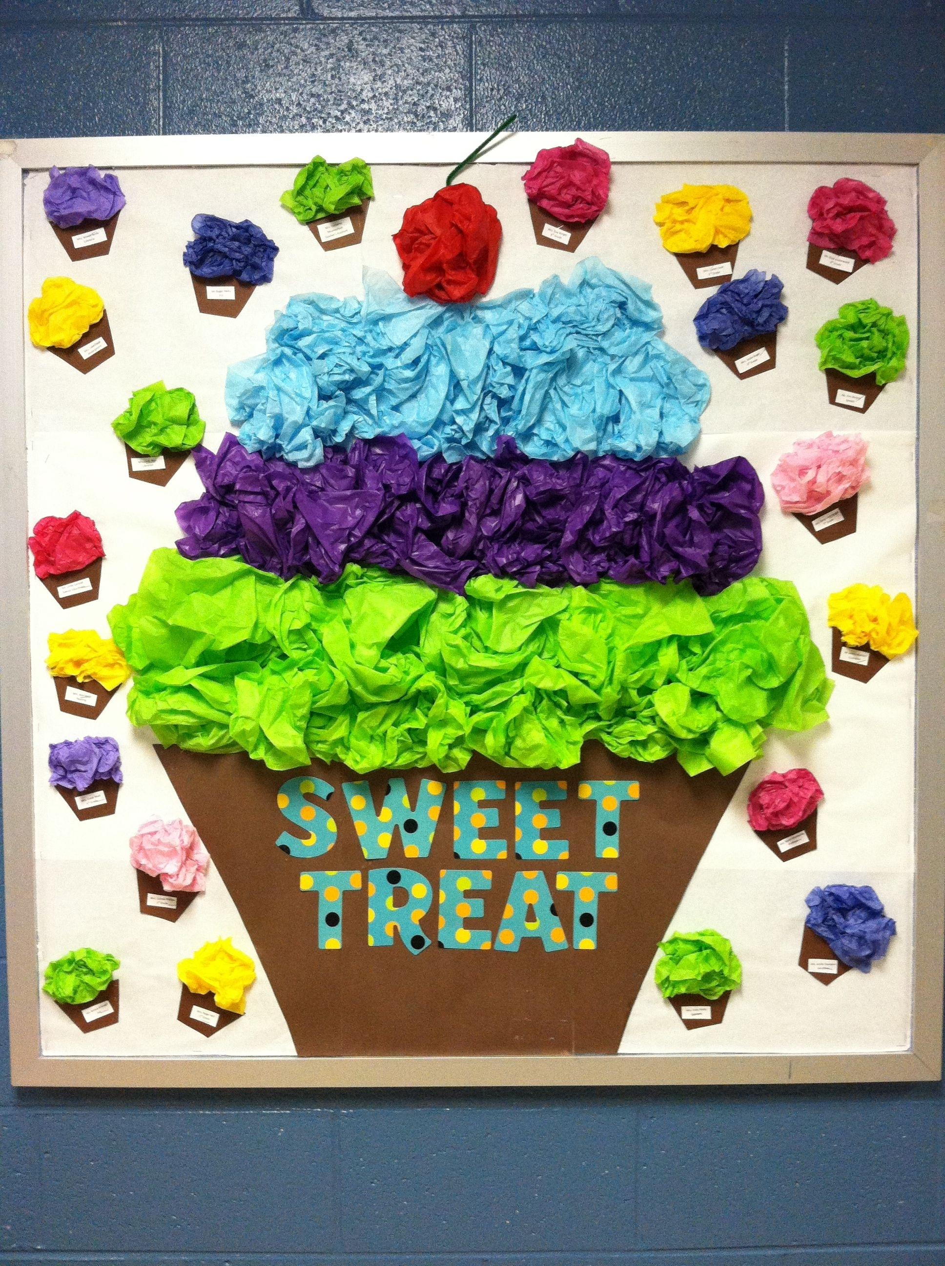 Class Room Bulletin Board. Sweet Treat. Cupcake. | Connie's Class for Cup Cake For Classroom Birthday