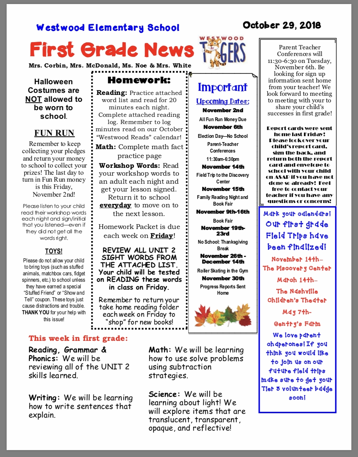 Classroom Newsletters October 29 – Westwood Pto In Fairview, Tn with regard to 1St Grade Newsletters In 1St Grade
