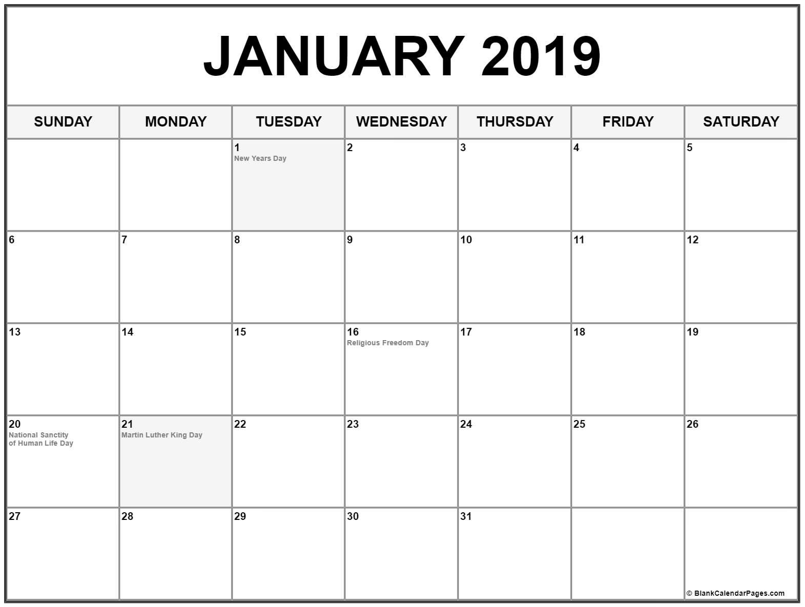 Collection Of January 2019 Calendars With Holidays intended for Picture Of A January Calender