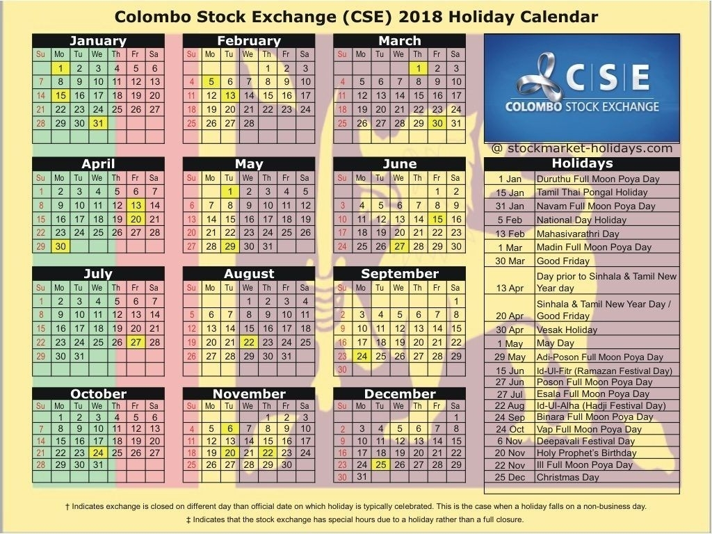 Colombo Stock Exchange 2018 / 2019 Holidays : Cse Holidays 2018 with Sri Lanka Calendar Of September With Holidays