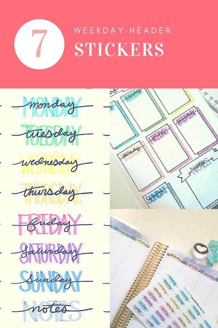 Colorful Weekday Headers Planner Stickers | Hand Drawn Bujo Style intended for 7 Days A Week Planner