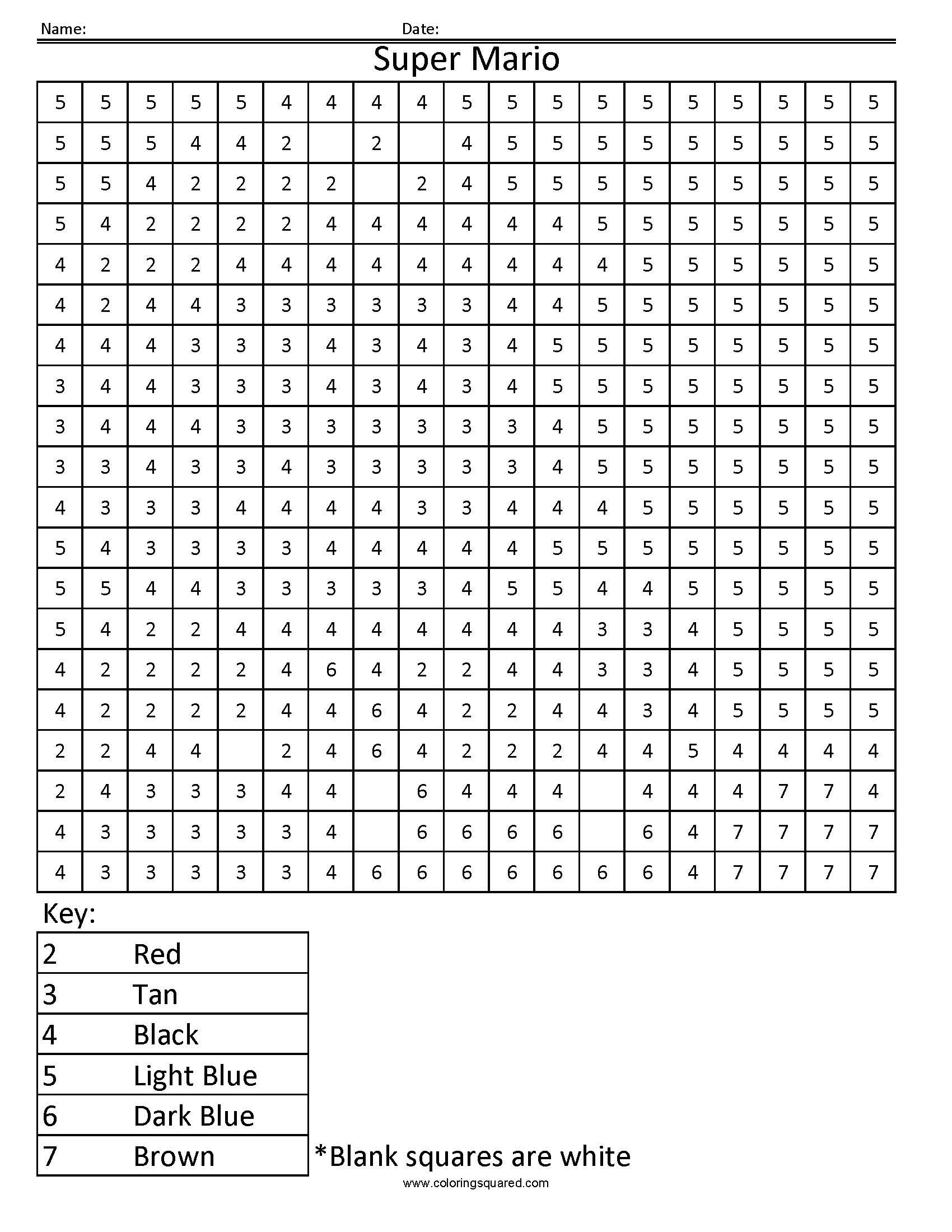 Colouring In Square Sheets For Year Three No Color | Template with Colouring In Square Sheets For Year Three No Color