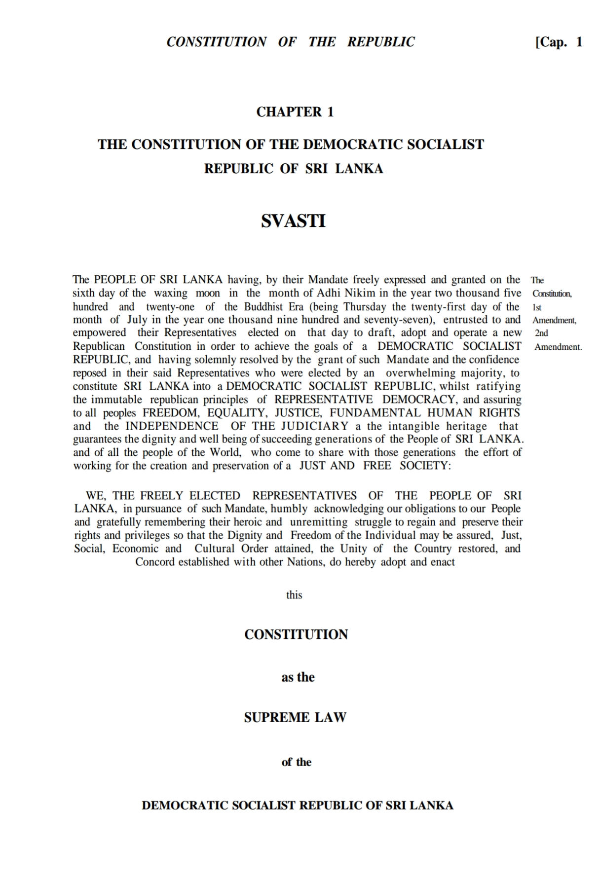 Constitution Of Sri Lanka - Wikipedia within 18 August 1987 In Sri Lanka