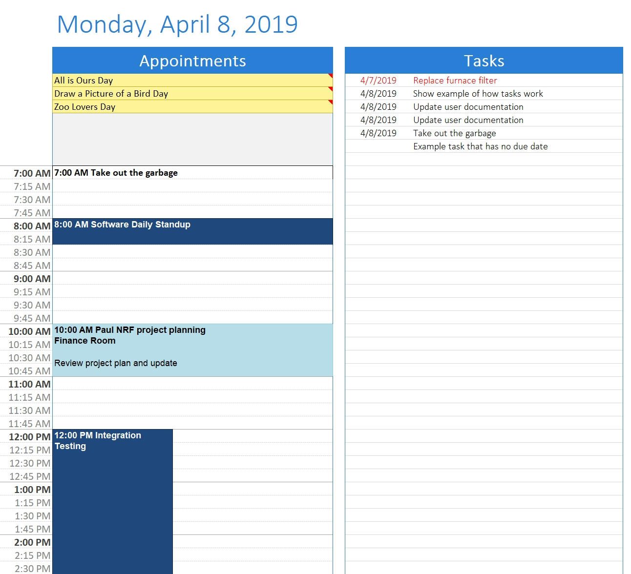 Create Calendars Using A Day Template With Task List within Blank Sheet Lines Calendar With Time Slots