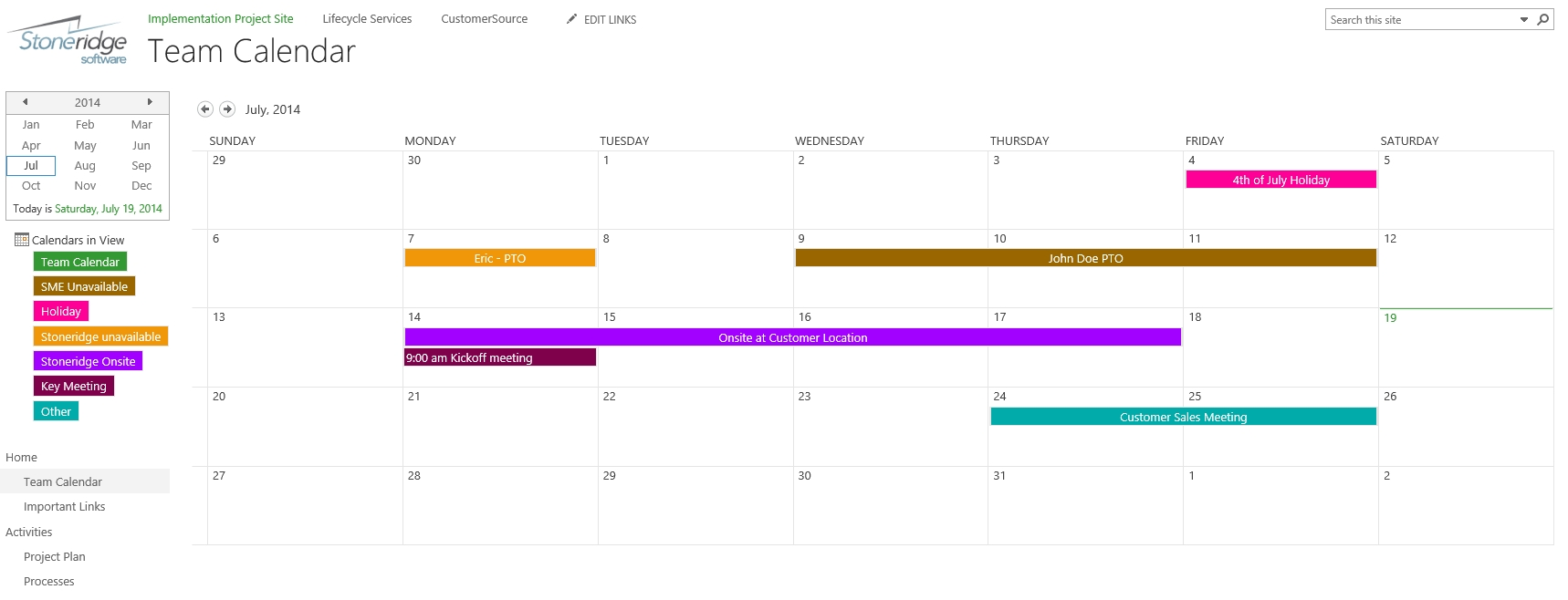 Creating A Color Coded Calendar In Sharepoint Online | Stoneridge in Sharepoint 2013 Calendar Overlay Issues