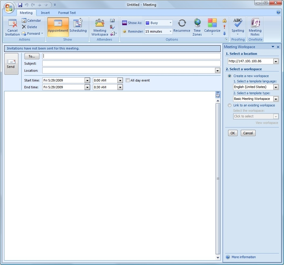 Creating Meeting Workspaces In Moss 2007 And Outlook 2007 for Outlook 2007 Calendar Event Template