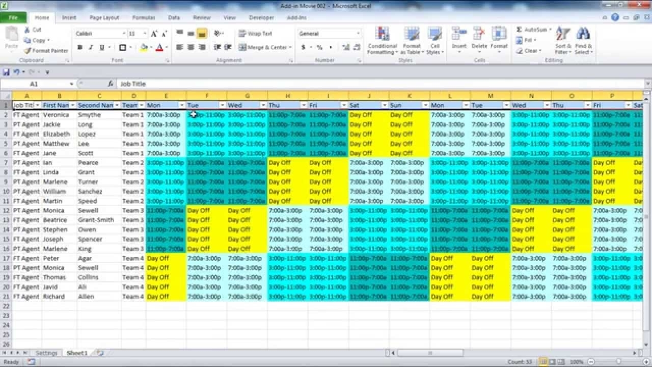 Creating Your Employee Schedule In Excel - Youtube pertaining to 4 Week Blank Rotating Schedule Calendar